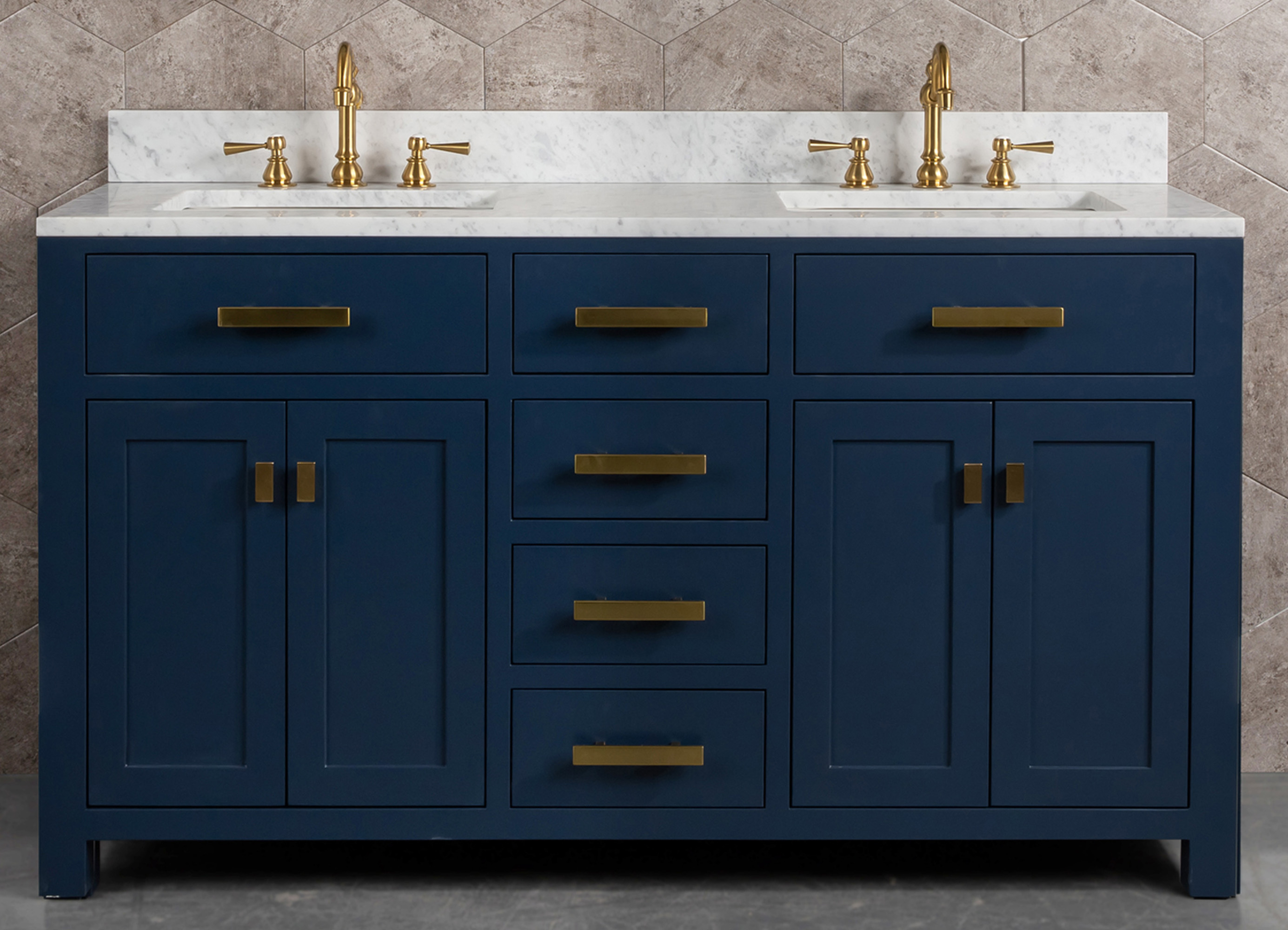 "60"" Double Sink Carrara White Marble Vanity In Monarch Blue Color"