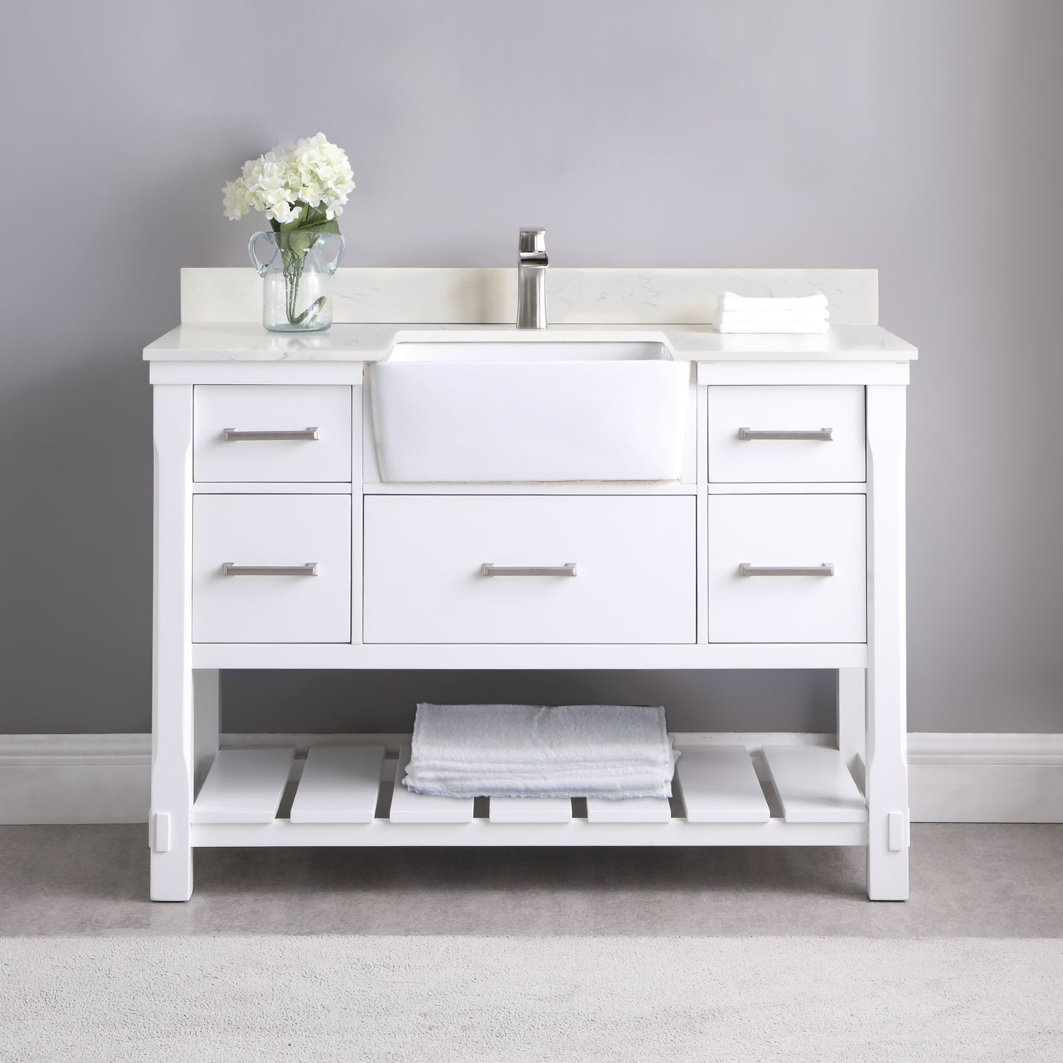 "Issac Edwards Collection 48"" Single Bathroom Vanity Set in White and Composite Carrara White Stone Top with White Farmhouse Basin without Mirror"