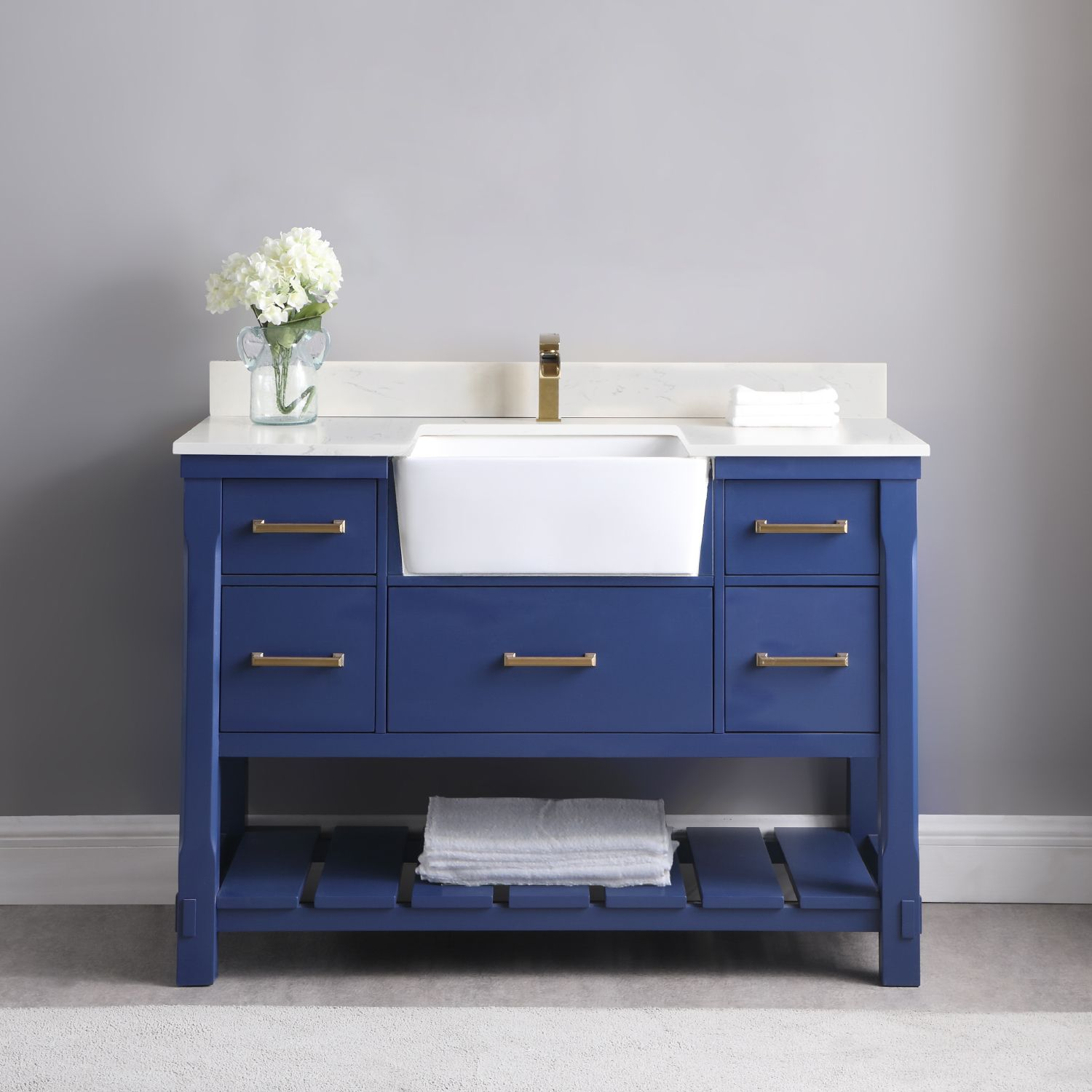 "Issac Edwards Collection 48"" Single Bathroom Vanity Set in Jewelry Blue and Composite Carrara White Stone Top with White Farmhouse Basin without Mirror"