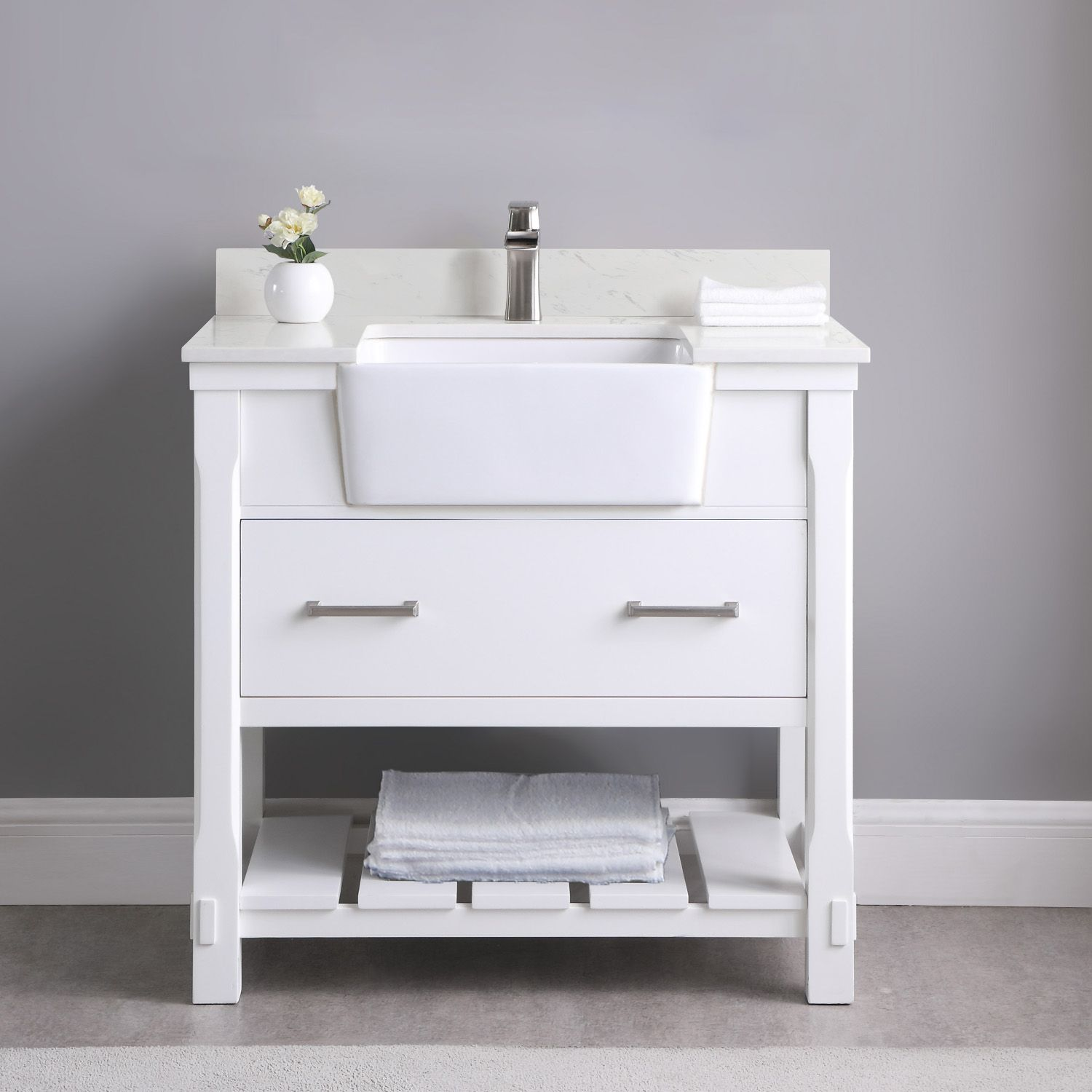 "Issac Edwards Collection 36"" Single Bathroom Vanity Set in White and Composite Carrara White Stone Top with White Farmhouse Basin without Mirror"