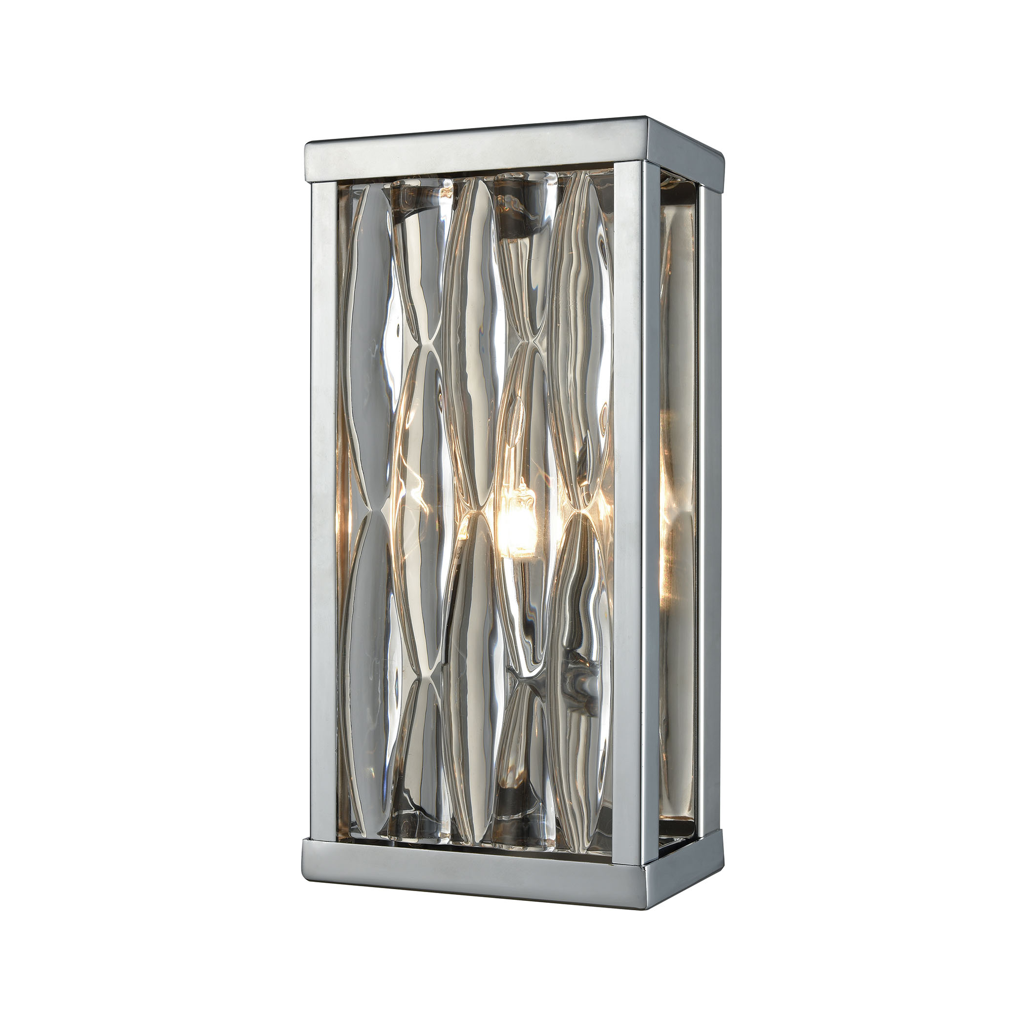 Riverflow 1 Light Vanity in Polished Chrome with Stacked River Stone Glass