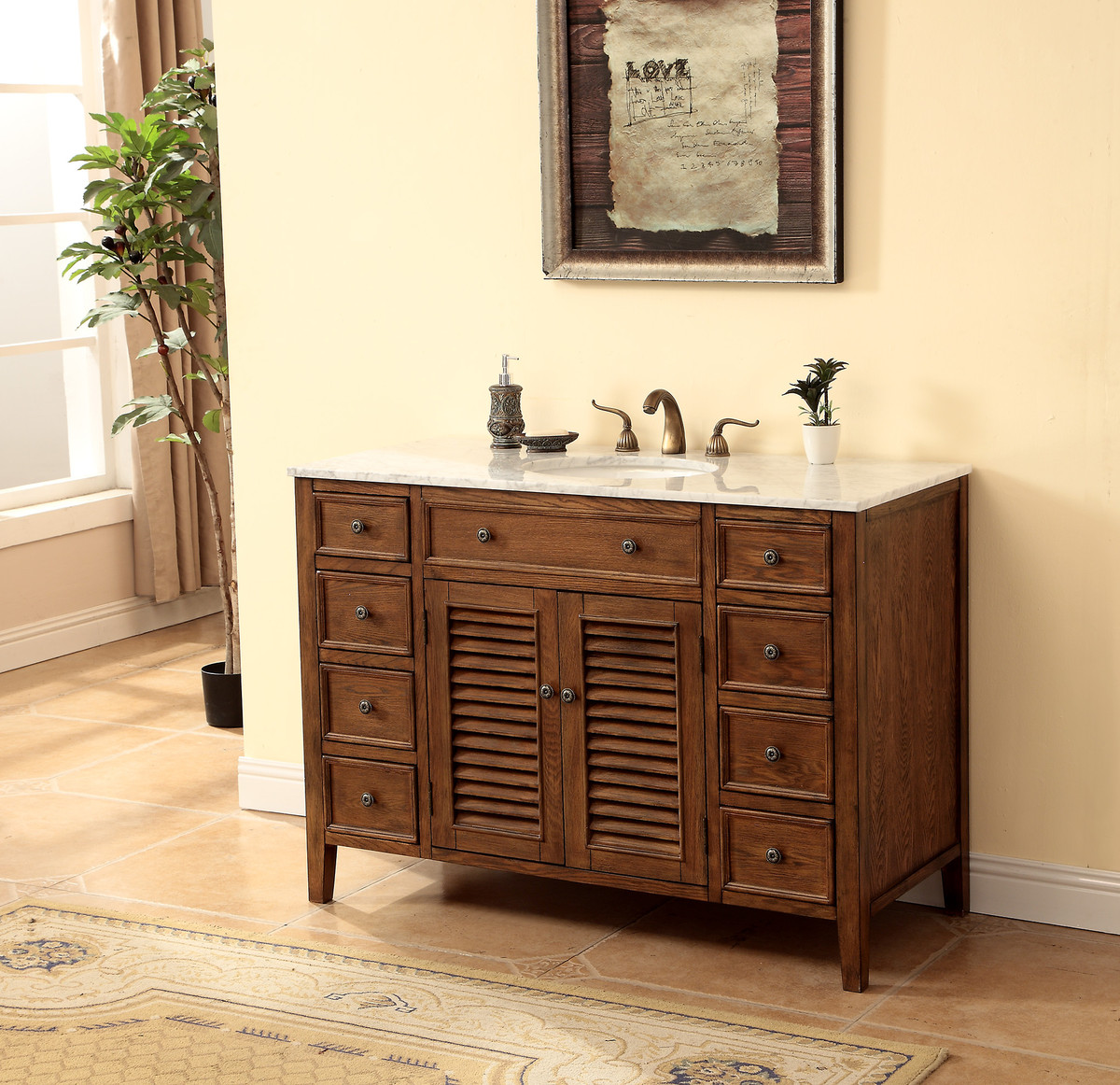 "48"" Adelina Cottage Style Single Sink Bathroom Vanity in Walnut Finish with White Italian Carrara Marble Countertop"