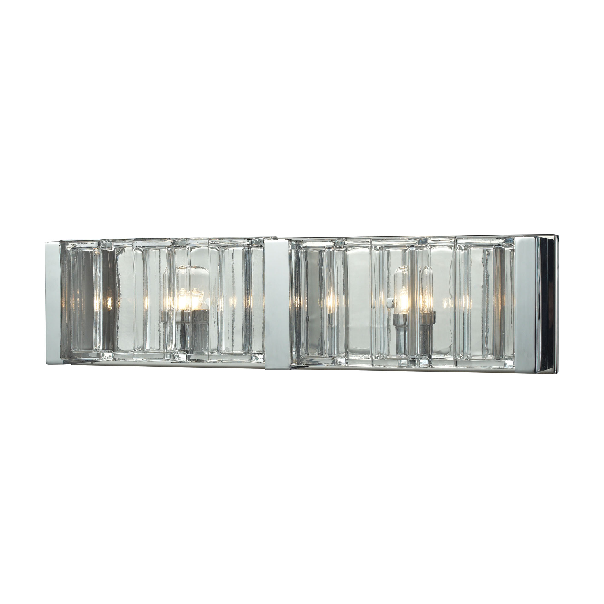 Corrugated Glass 2 Light Vanity in Polished Chrome