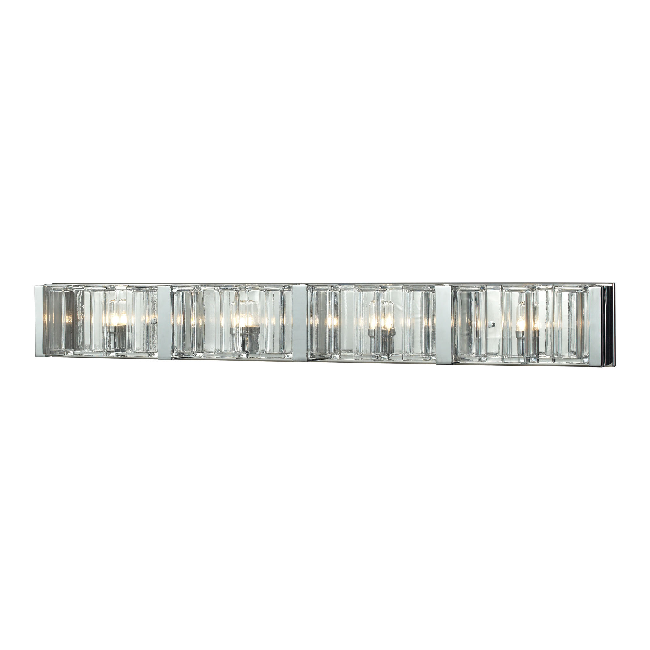 Corrugated Glass 4 Light Vanity in Polished Chrome