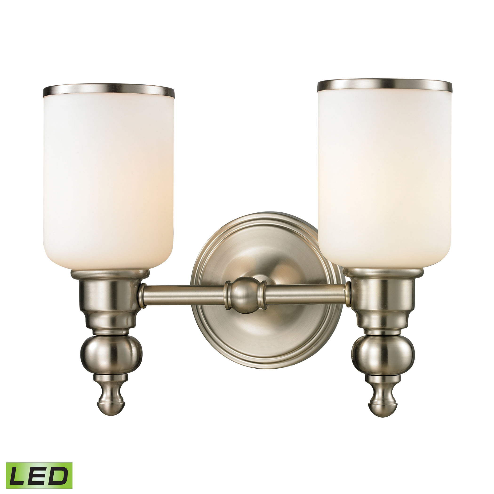 Bristol Collection 2 light bath in Brushed Nickel - LED, 800 Lumens (1600 Lumens Total) with Full S
