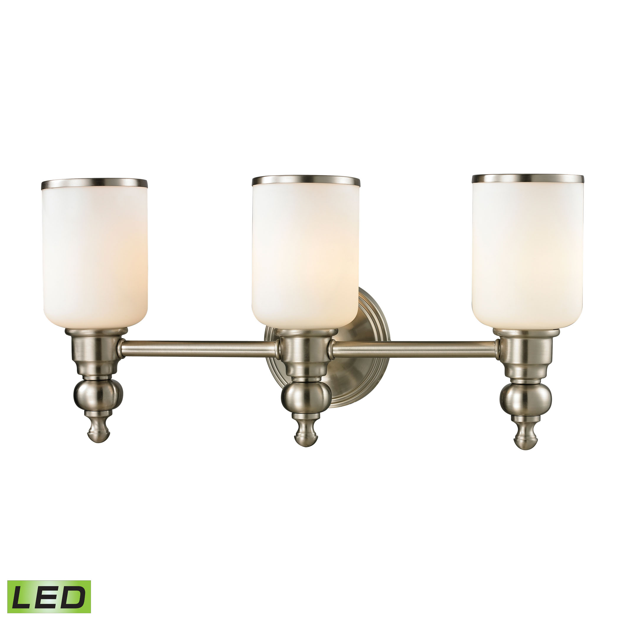 Bristol Collection 3 light bath in Brushed Nickel - LED, 800 Lumens (2400 Lumens Total) with Full Sc