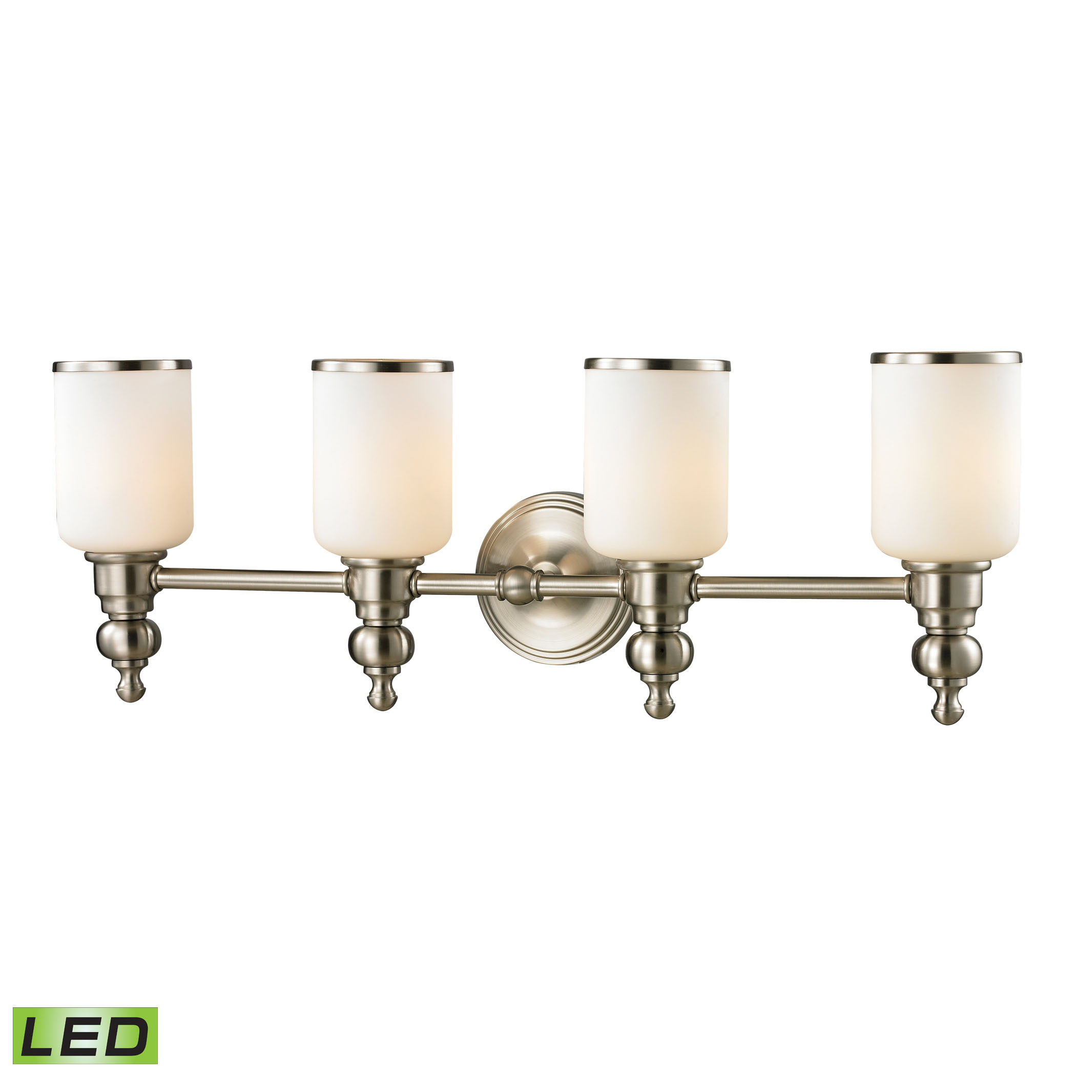 Bristol Collection 4 Light Bath in Brushed Nickel - LED, 800 Lumens (3200 Lumens Total) with Full Sc
