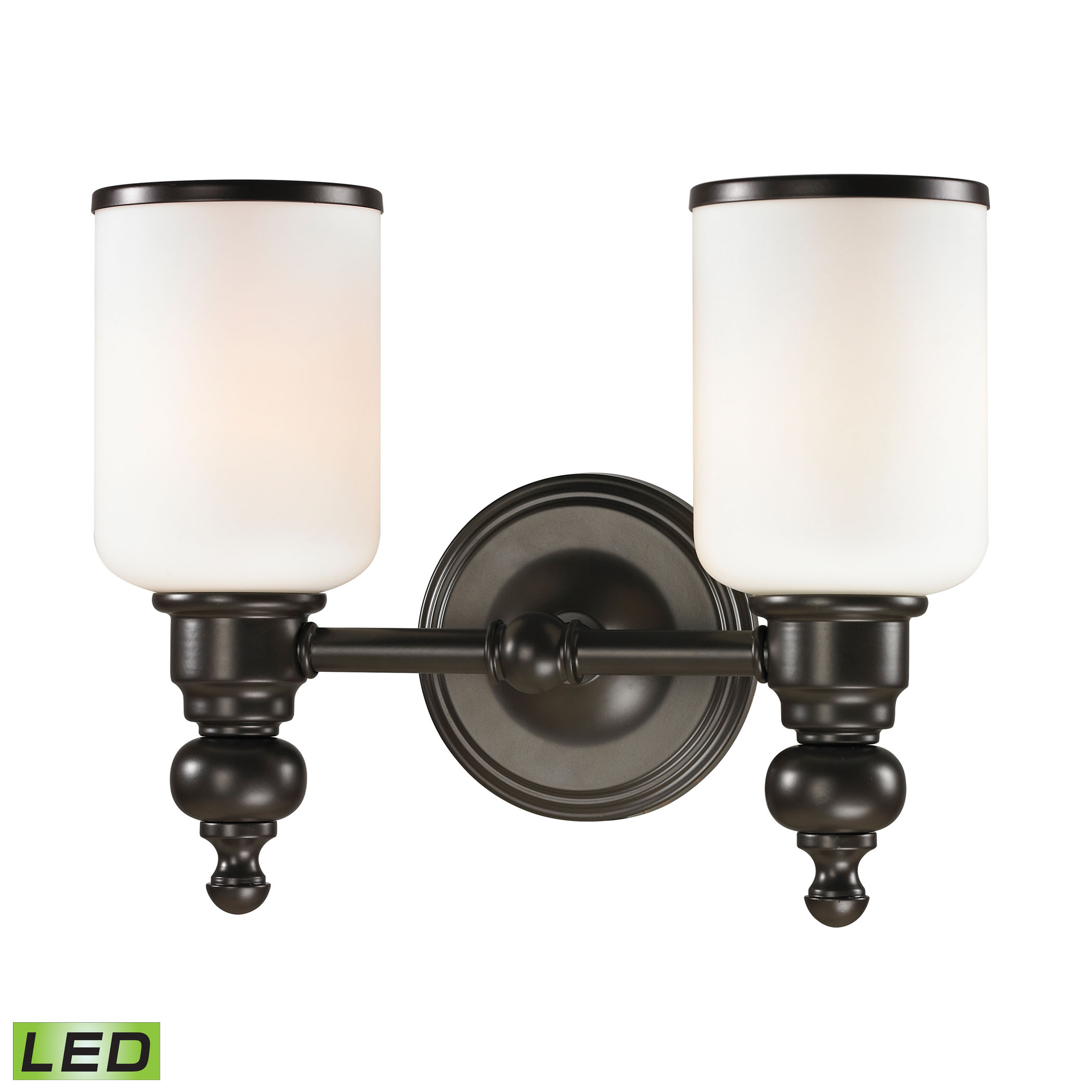 Bristol Collection 2 light bath in Oil Rubbed Bronze - LED, 800 Lumens (1600 Lumens Total) with Full