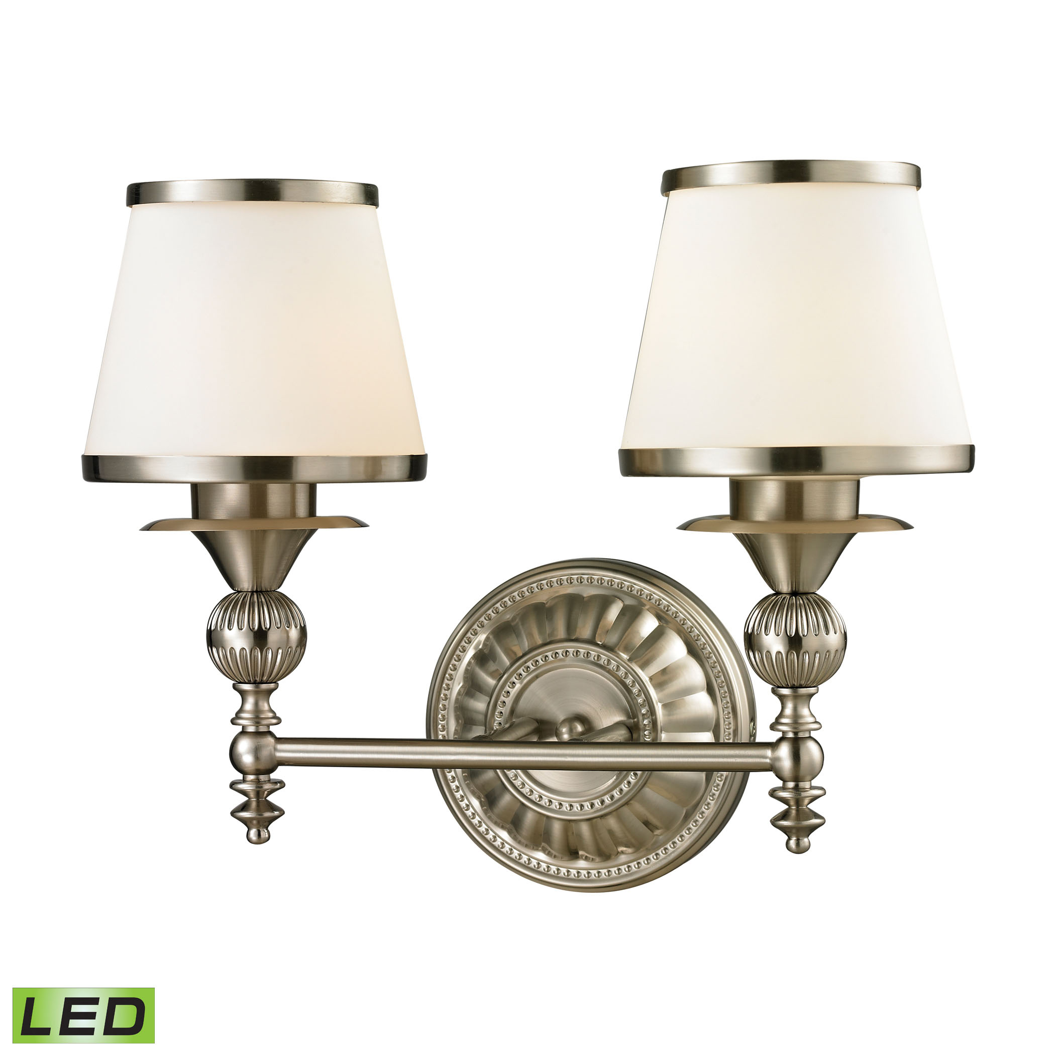 Smithfield Collection 2 Light Bath in Brushed Nickel - LED, 800 Lumens (1600 Lumens Total) with Full