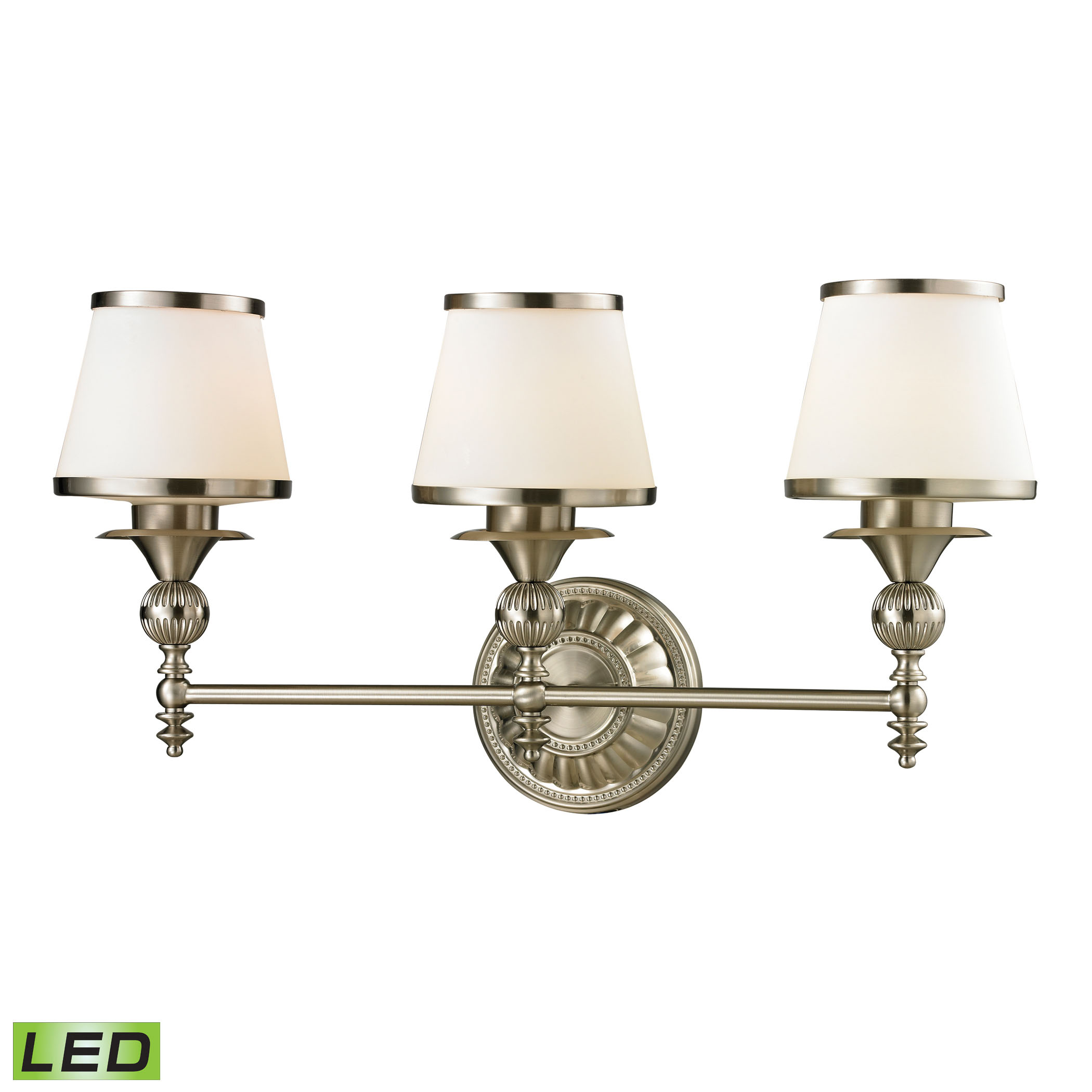 Smithfield Collection 3 Light Bath in Brushed Nickel - LED, 800 Lumens (2400 Lumens Total) with Full