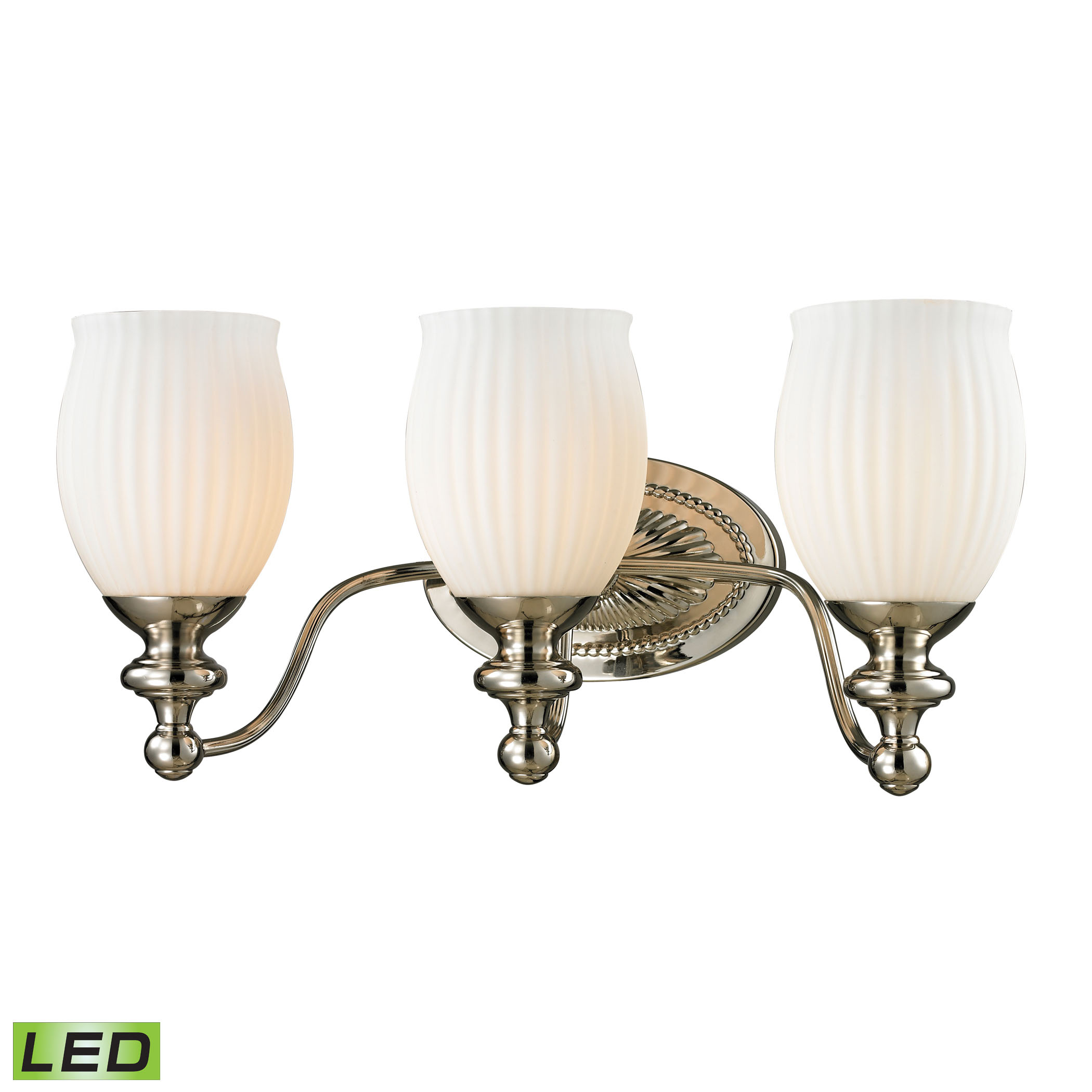 Park Ridge Collection 3 Light Bath in Polished Nickel - LED, 800 Lumens (2400 Lumens Total) with Full