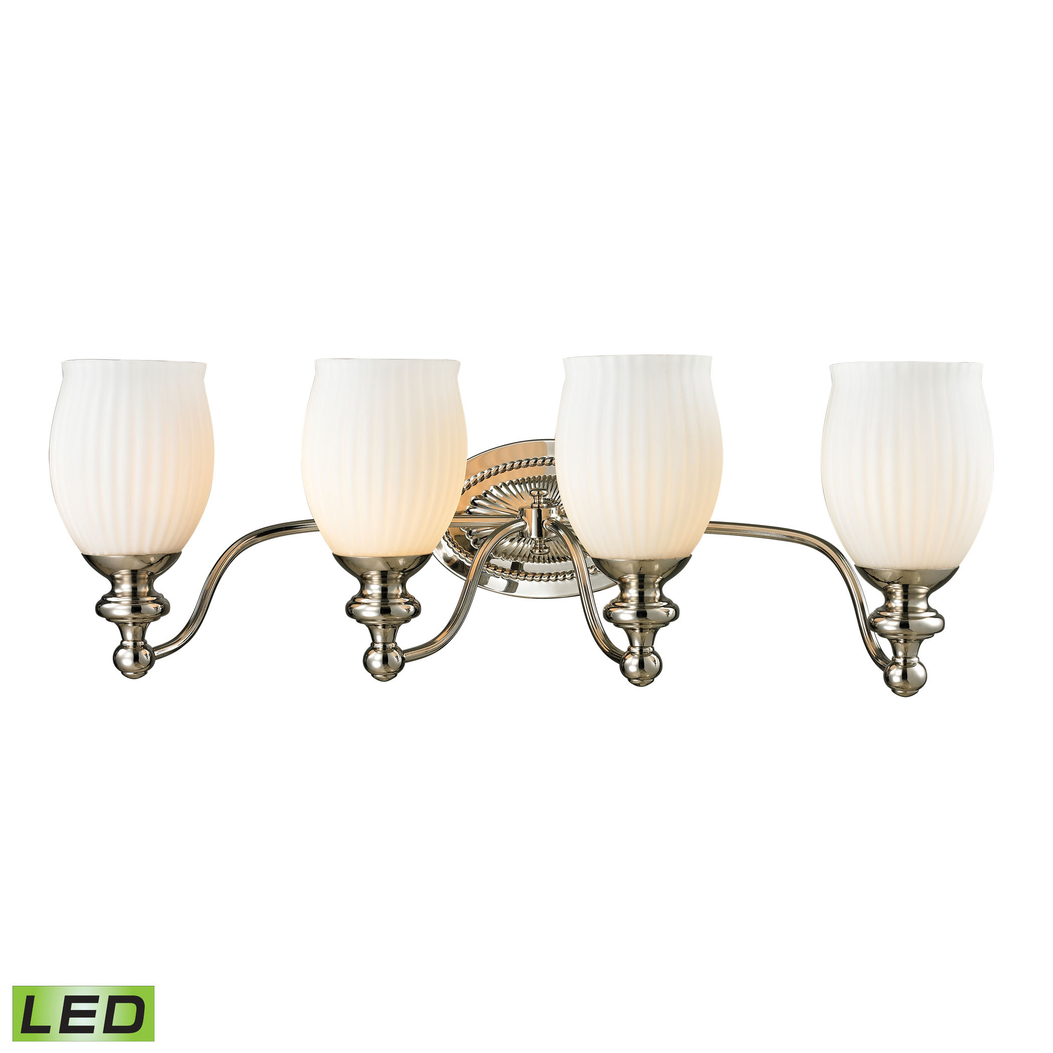 Park Ridge Collection 4 Light Bath in Polished Nickel - LED, 800 Lumens (3200 Lumens Total) with Ful