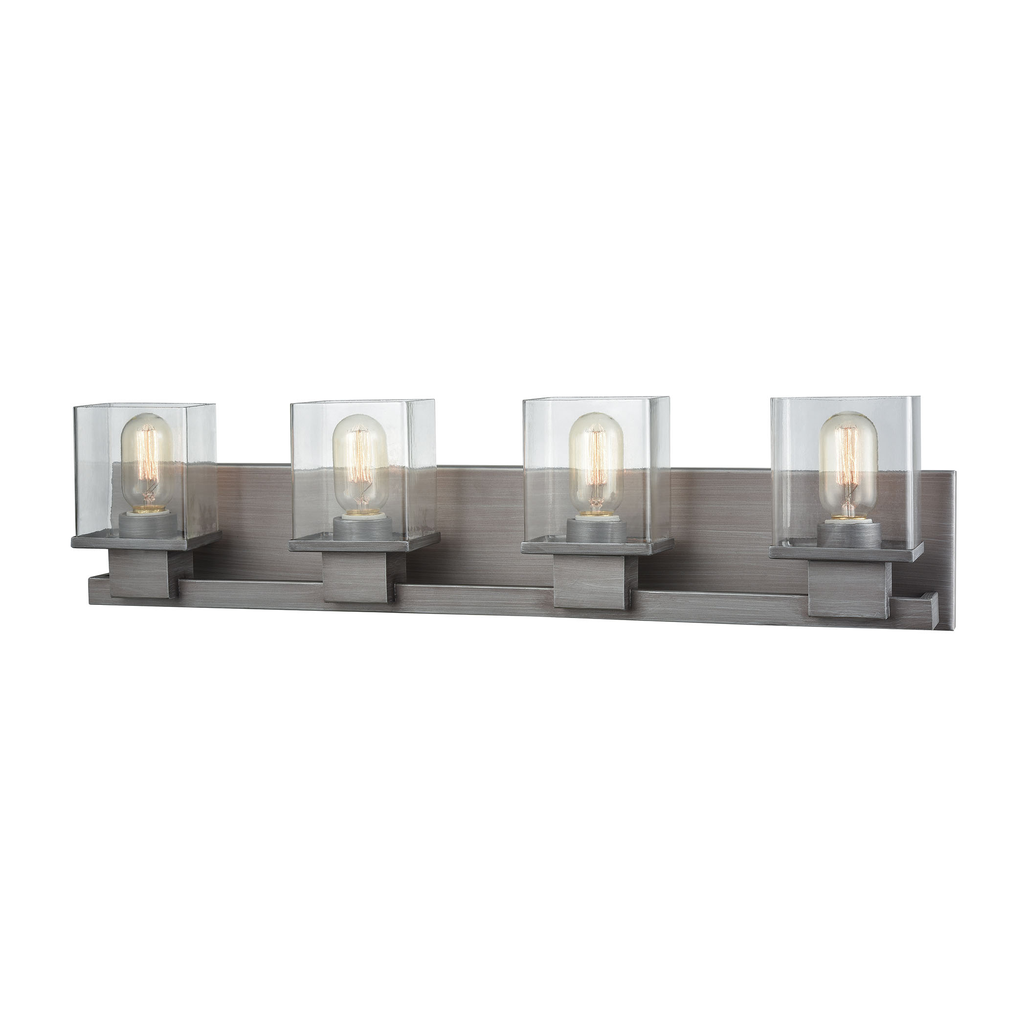 Hotelier 4 Light Vanity in Weathered Zinc with Clear Glass