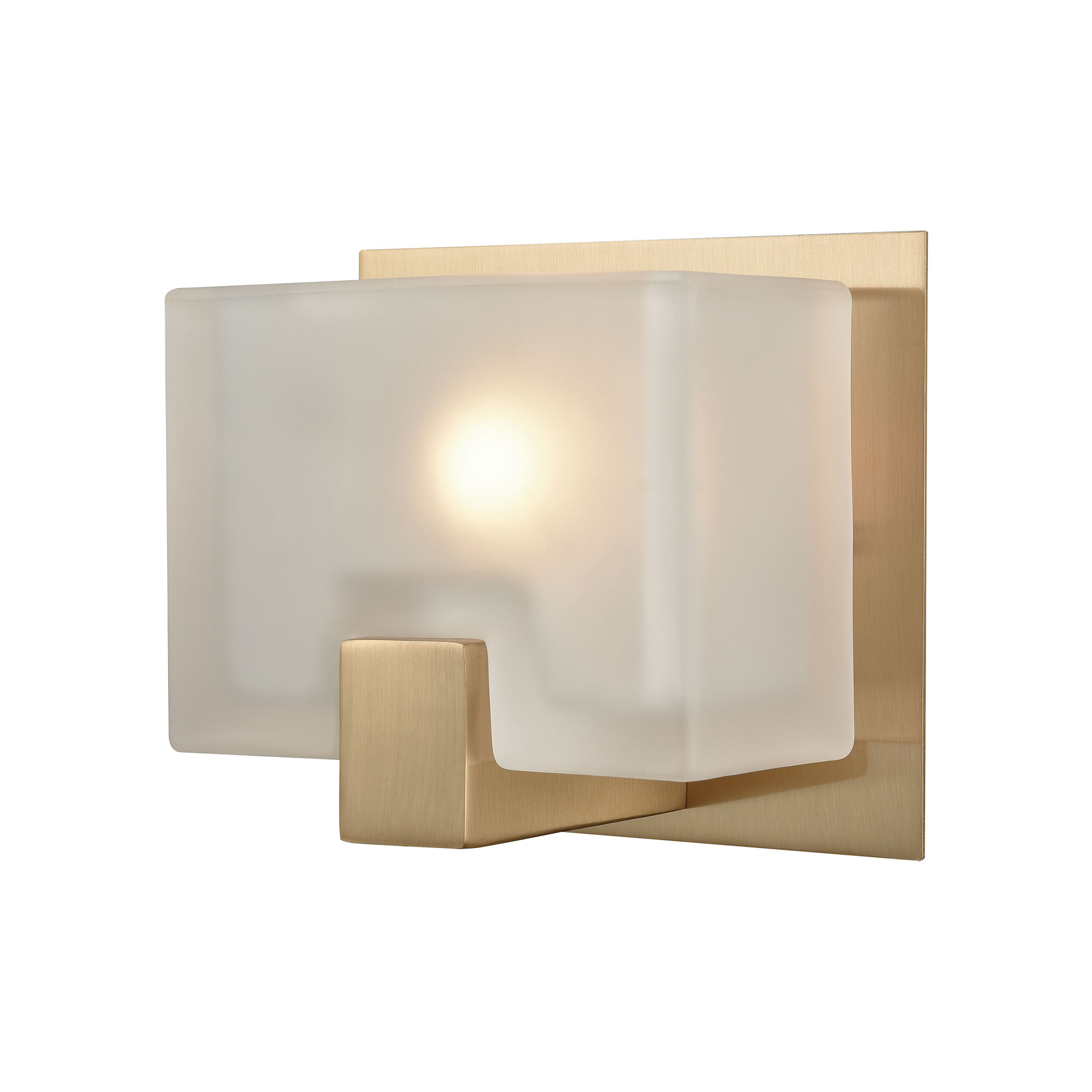Ridgecrest 1 Light Vanity in Satin Brass with Frosted Cast Glass
