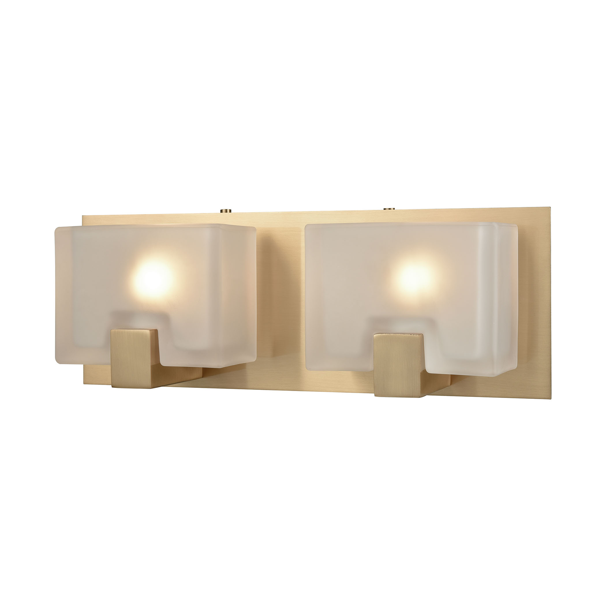 Ridgecrest 2 Light Vanity in Satin Brass with Frosted Cast Glass