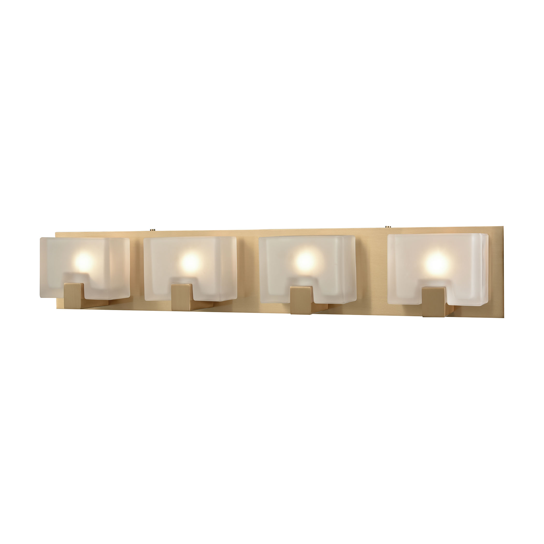 Ridgecrest 4 Light Vanity in Satin Brass with Frosted Cast Glass