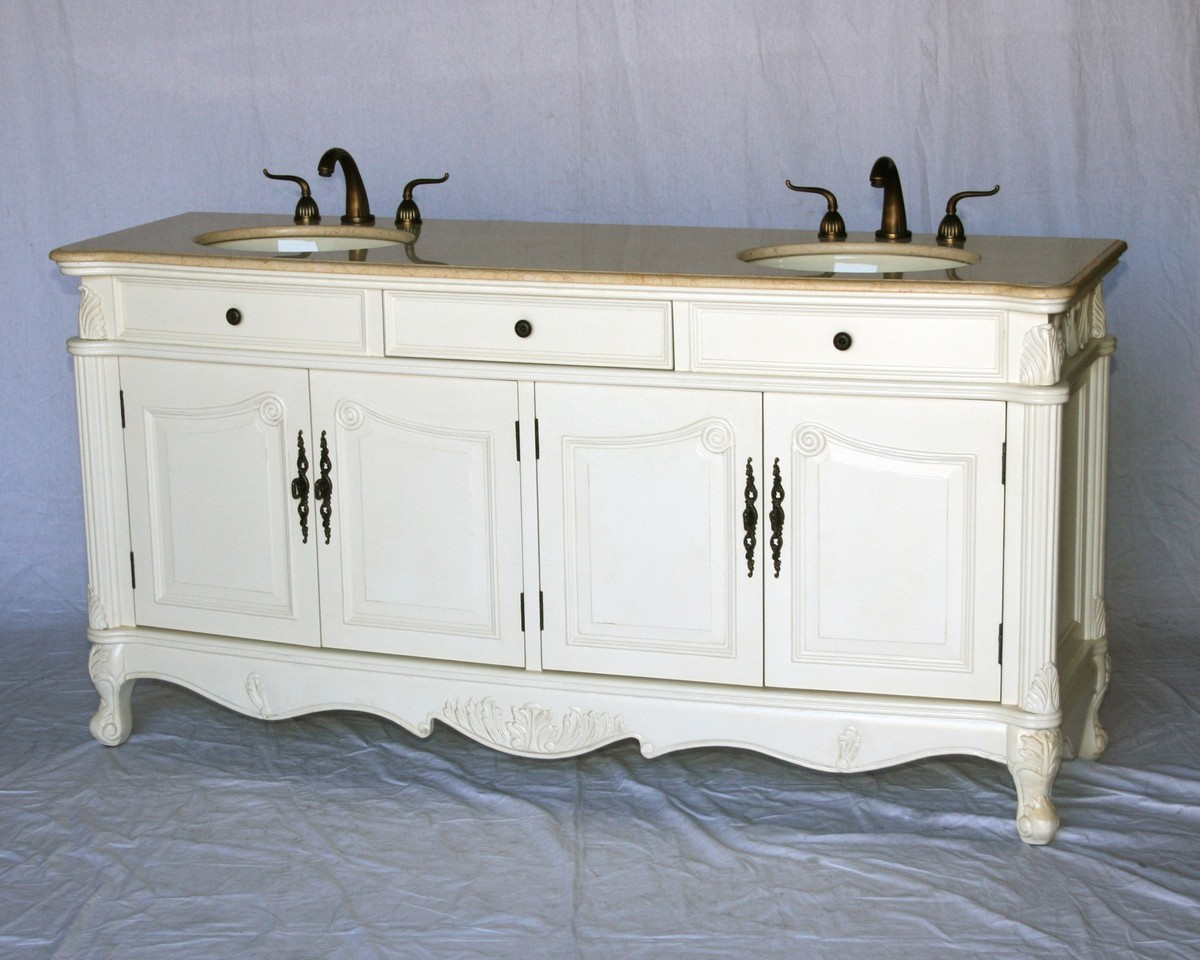 "70"" Adelina Antique Style Double Sink Bathroom Vanity in Antique White Finish with Beige Stone Countertop and Oval Bone Porcelain Sink"