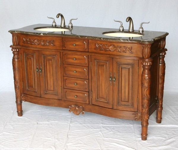 "60"" Adelina Antique Style Double Sink Bathroom Vanity in Walnut Finish with Light Brown Stone Countertop"