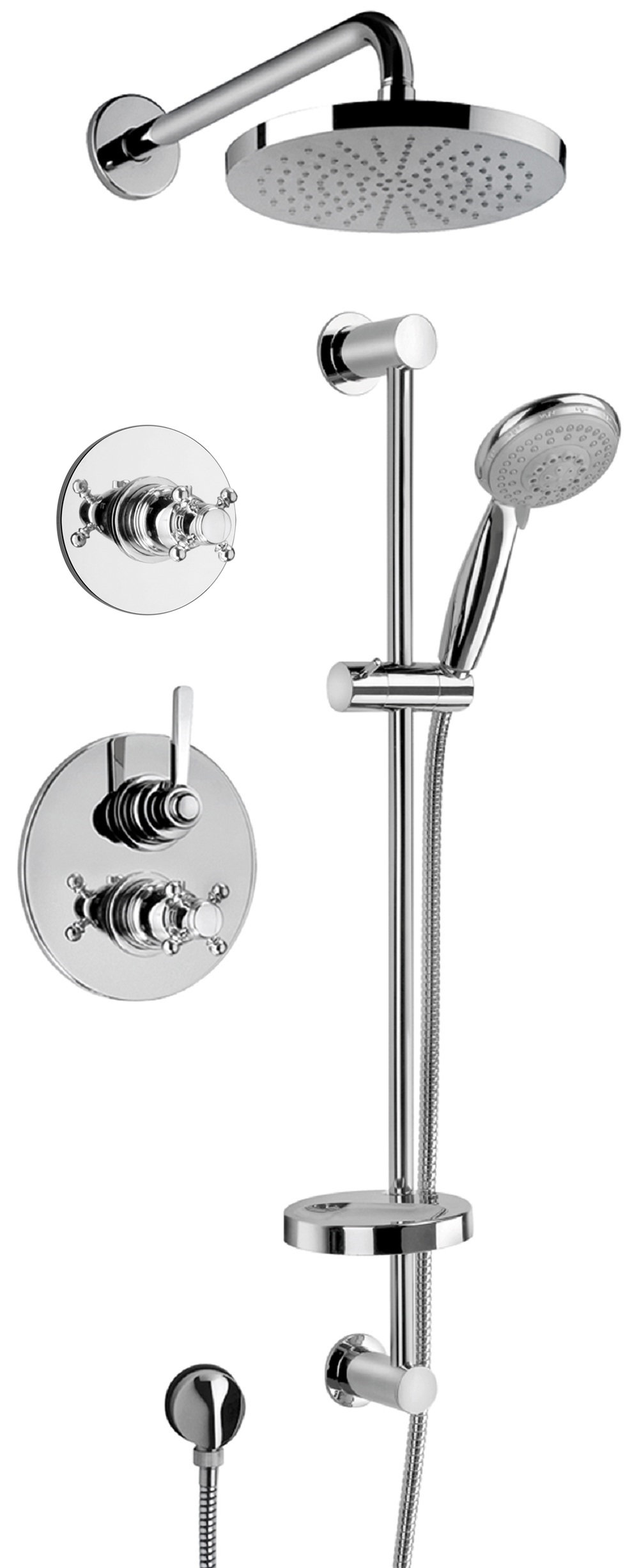 "Thermostatic Shower With 3/4"" Ceramic Disc Volume Control, 3-Way Diverter, Slide Bar in Chrome Finish"