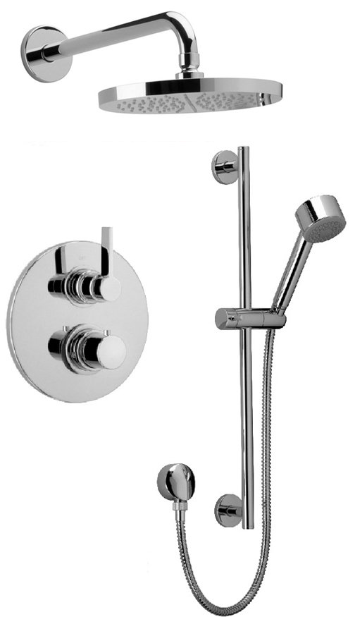 Thermostatic Shower With 2-Way Diverter Volume Control, Slide Bar in Chrome