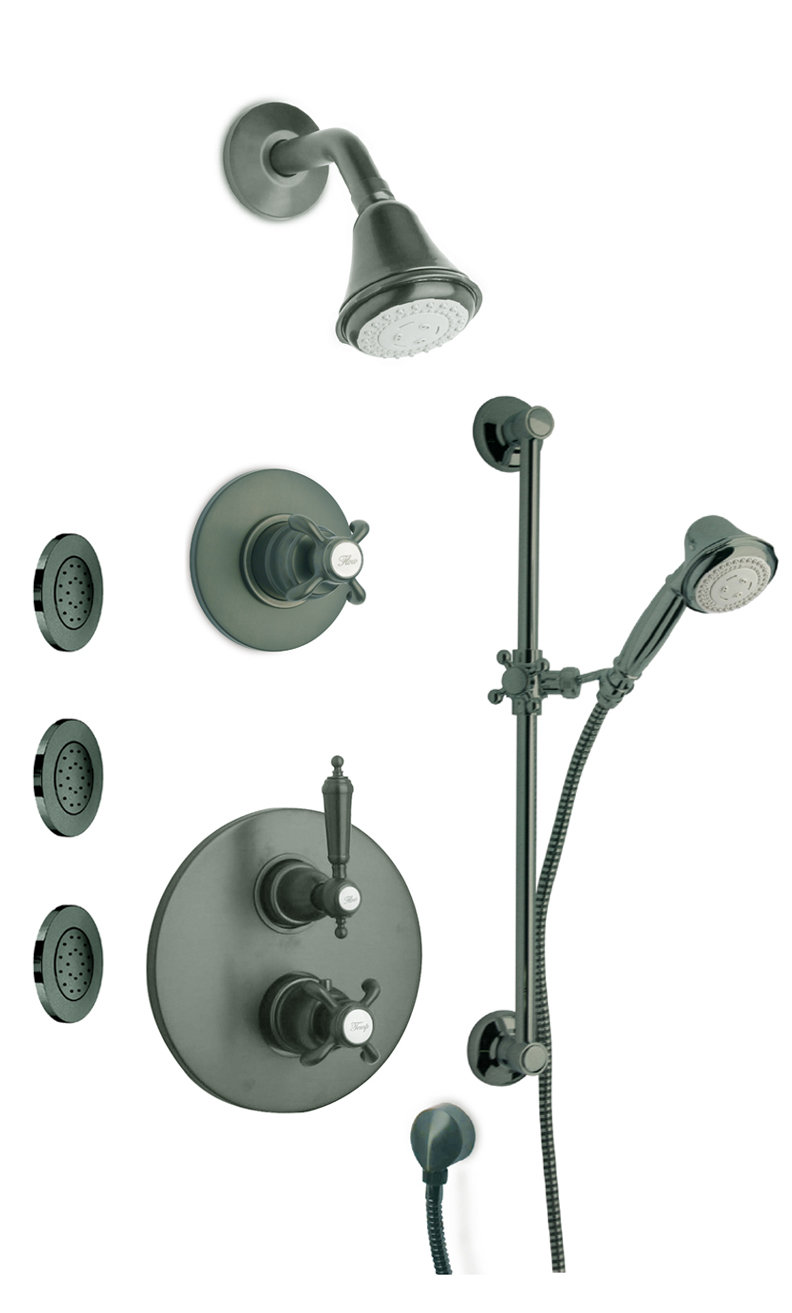 "Thermostatic Shower With 3/4"" Ceramic Disc Volume Control, 3-Way Diverter, Slide Bar and 3 Concealed Body Jets with 3 Color Options"