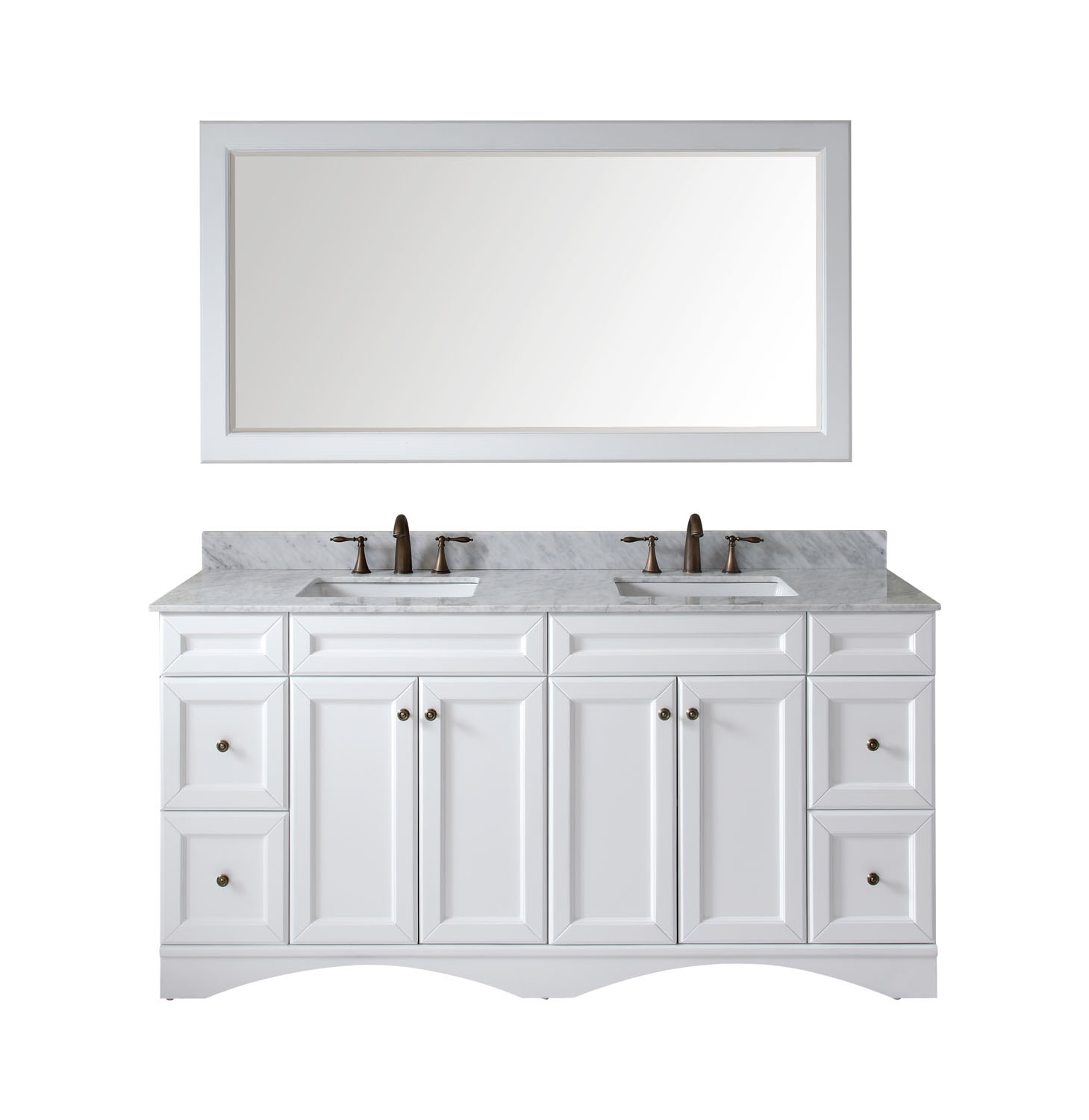 "72"" Double Bath Vanity in White with Marble Top and Square Sink with Faucet and Mirror Options"