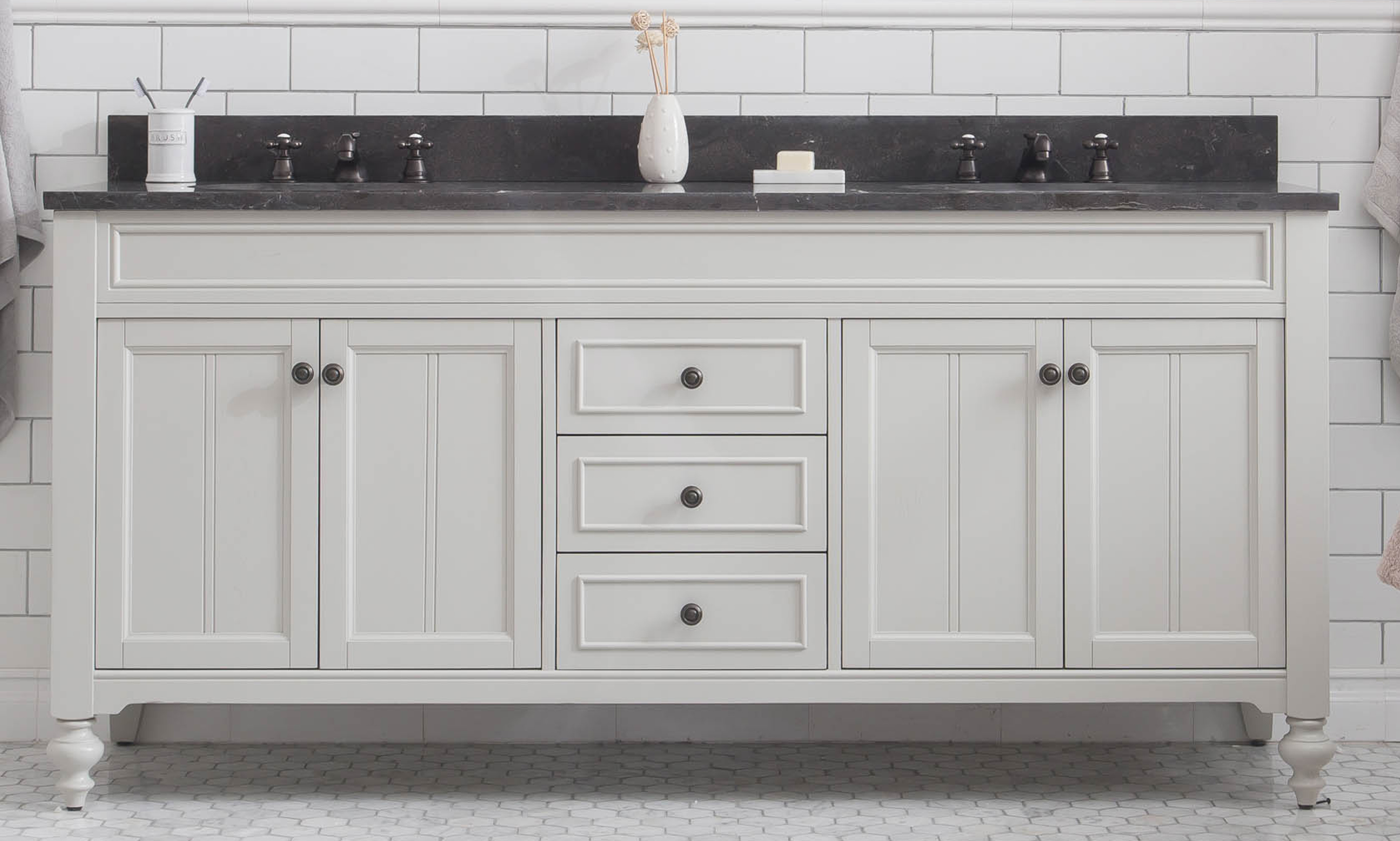 """72"""" Bathroom Vanity in Earl Grey with Blue Limestone Top with Faucet"""