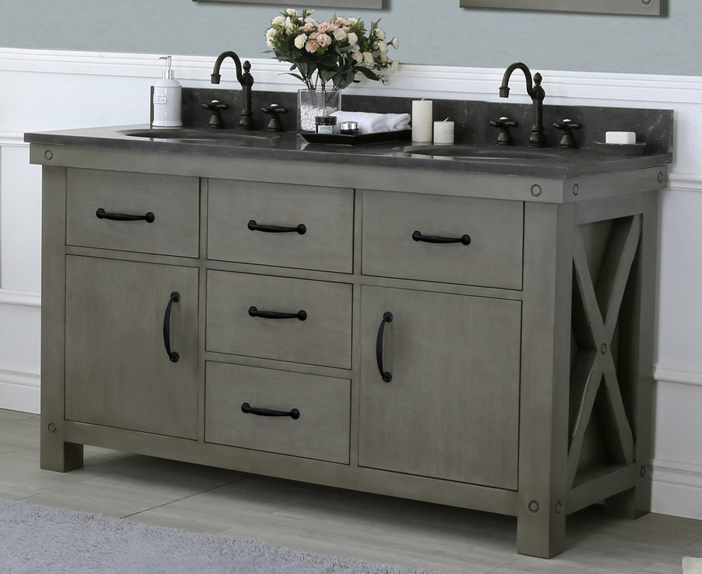 "60"" Grizzle Grey Double Sink Bathroom Vanity With Counter Top Options"