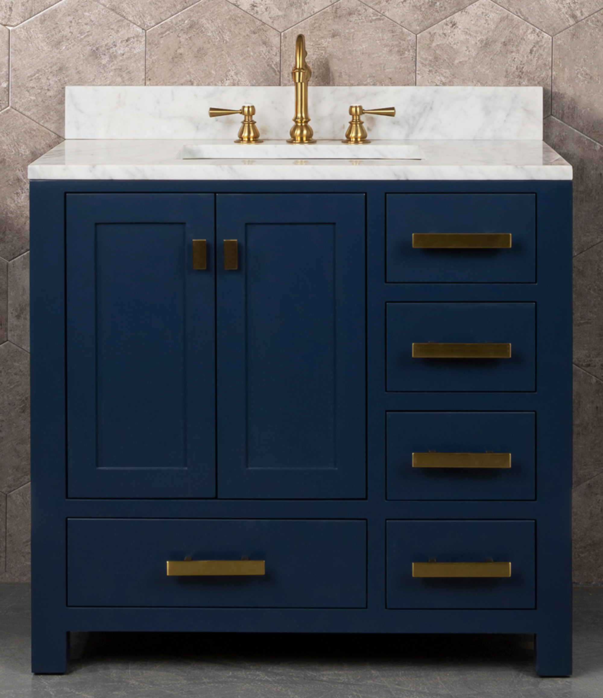 "36"" Single Sink Carrara White Marble Vanity In Monarch Blue Color"
