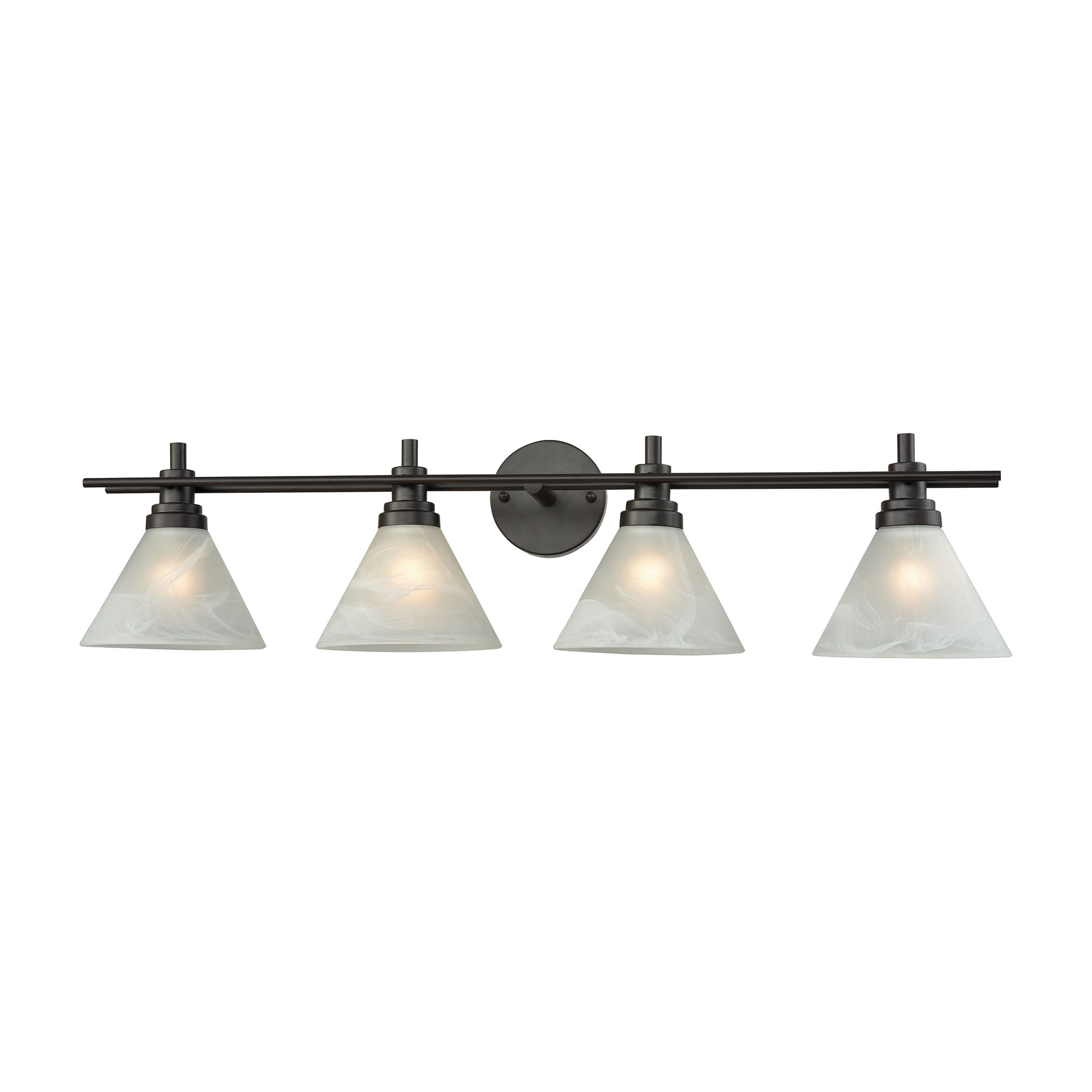 Pemberton 4 Light Vanity in Oil Rubbed Bronze with White Marbleized Glass