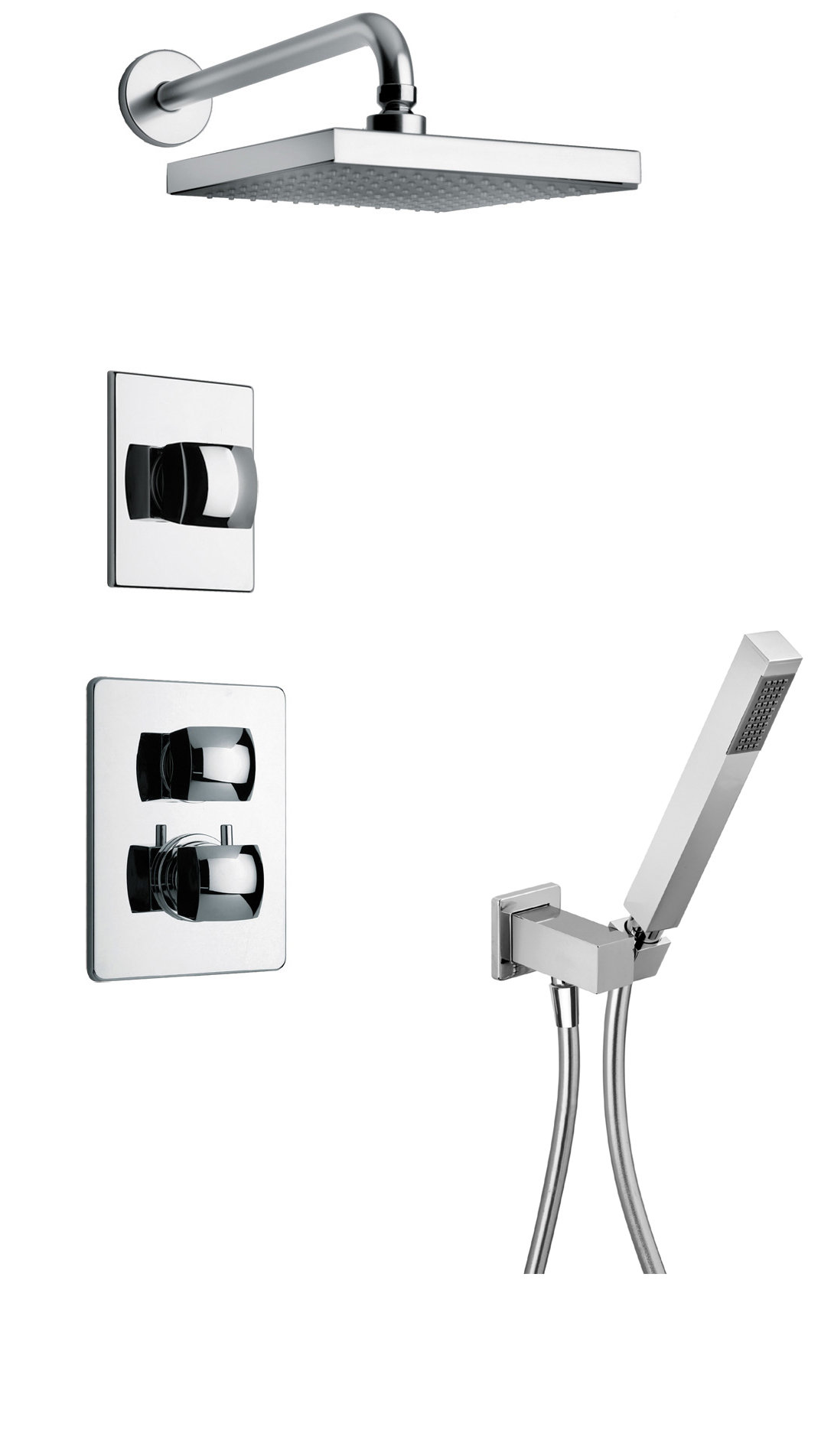 "Thermostatic Shower With 3/4"" Ceramic Disc Volume Control, 3-Way Diverter and Hand-Shower in Chrome"