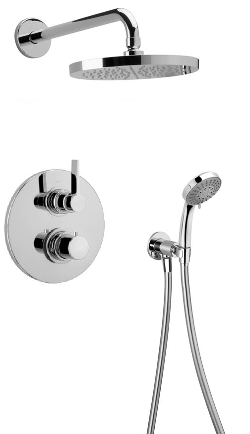 Thermostatic Shower With 2-Way Diverter Volume Control, Hand-Shower - Chrome Finish