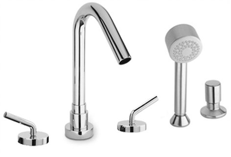 Roman Tub with Lever Handles and Diverter with Hand Held Shower in 2 Color Options