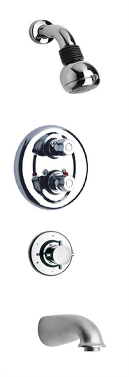 "Thermostatic Shower With 3/4"" Ceramic Disc Volume Control, 3-Way Diverter, Slide Bar and 3 Body Jets in 2 Color Options"