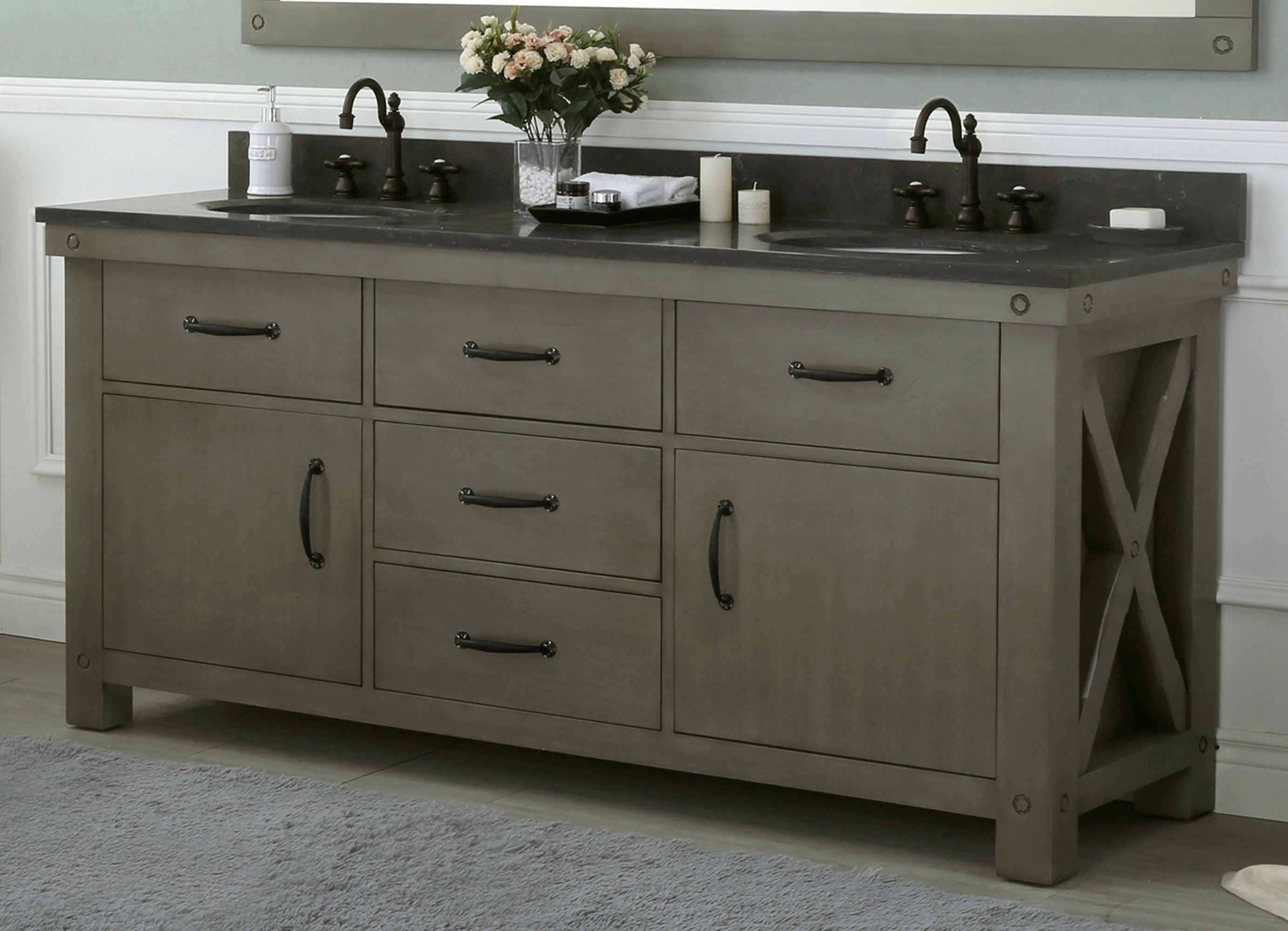 "72"" Grizzle Grey Double Sink Bathroom Vanity With Counter Top Options"