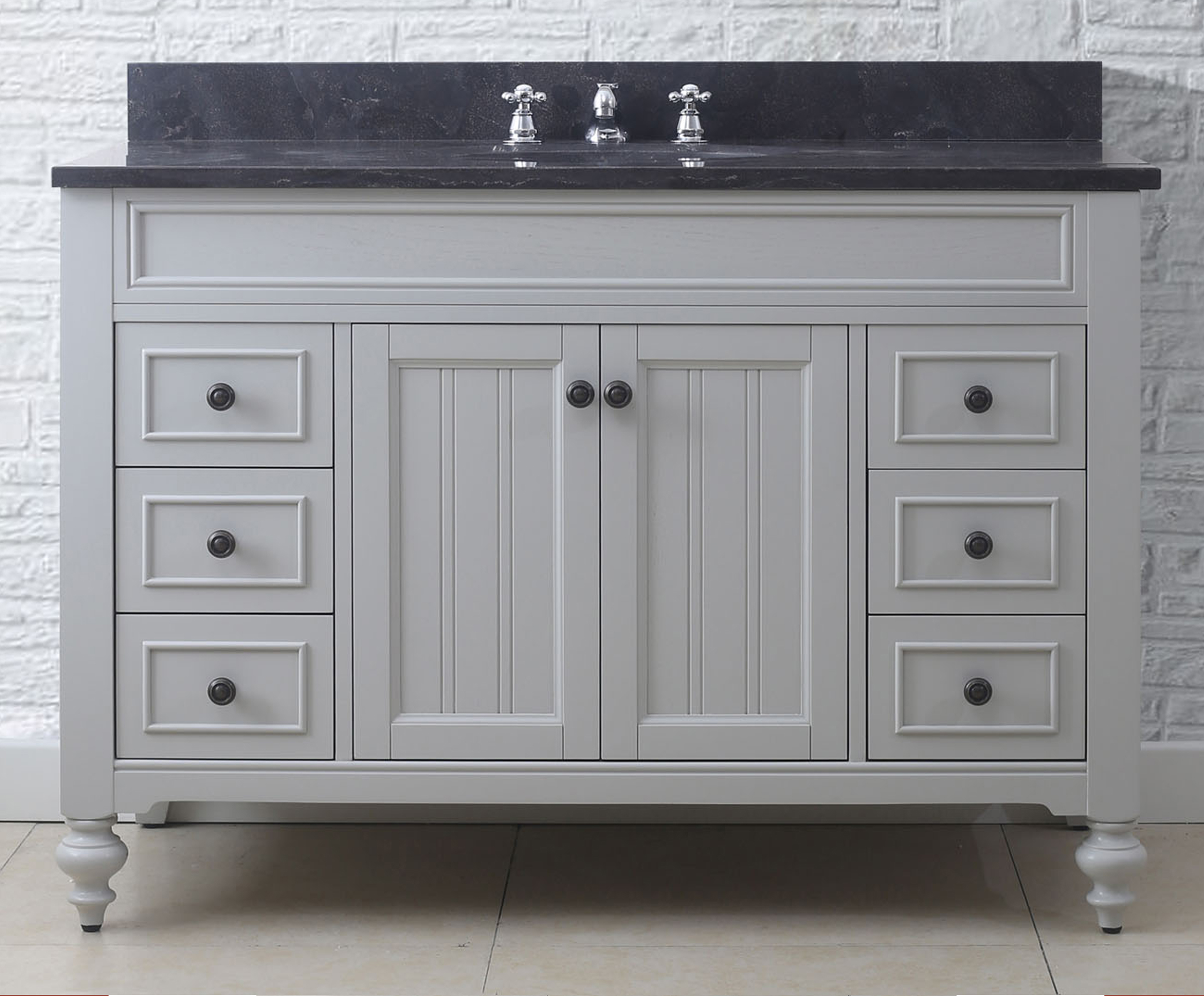 "Ariel Kensington 37"" Left Offset Single Sink Vanity Set in Grey"