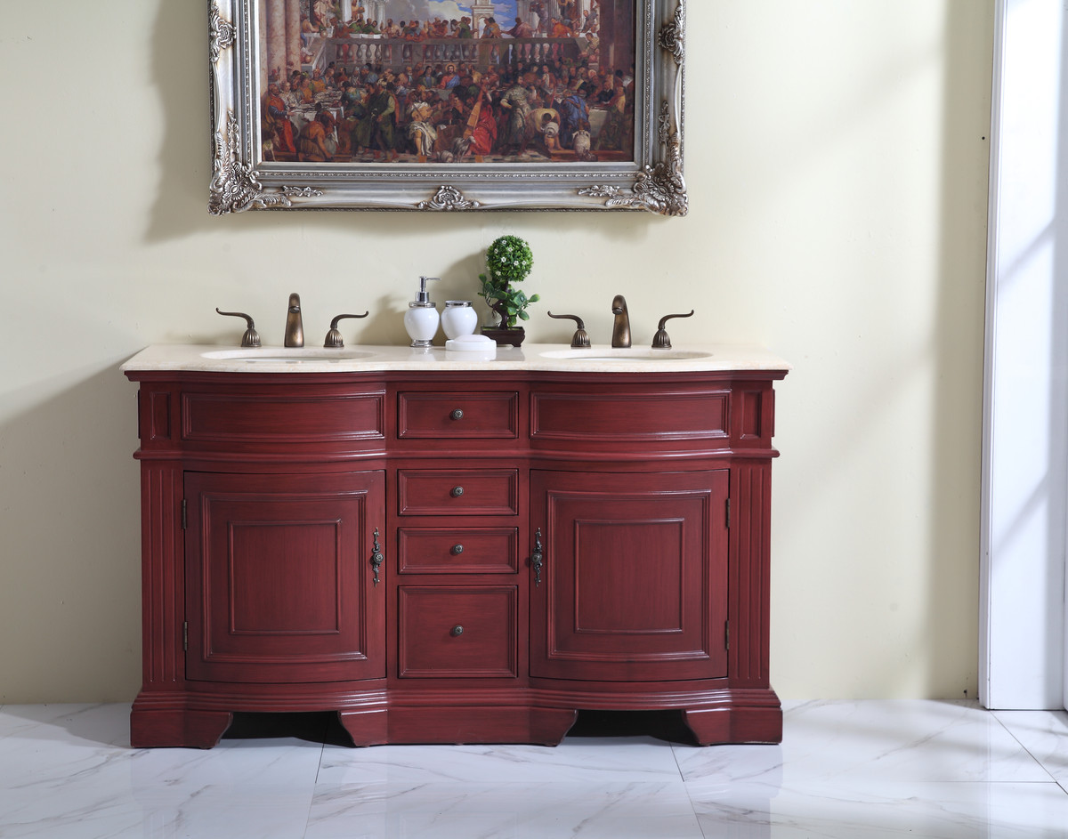 "60"" Adelina Traditional Style Double Sink Bathroom Vanity in Cherry Finish with Beige Stone Countertop and Oval Bone Porcelain Sinks"