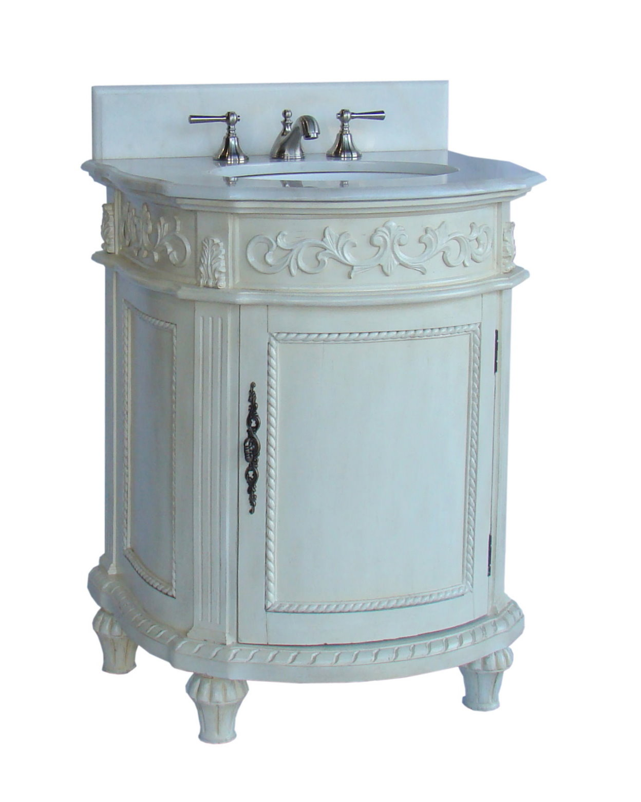 "Adelina 26"" Single Sink Bathroom Vanity in Antique White Finish with White Marble Countertop"