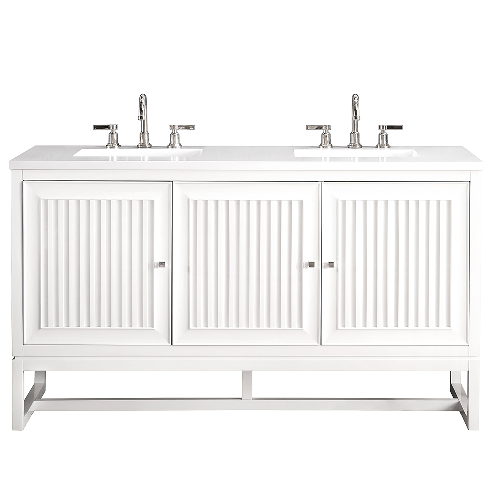 "James Martin Athens Collection 60"" Double Vanity Cabinet, Glossy White"