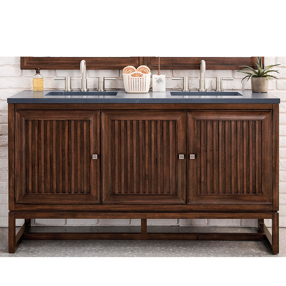 "James Martin Athens Collection 60"" Double Vanity Cabinet, Mid Century Acacia"