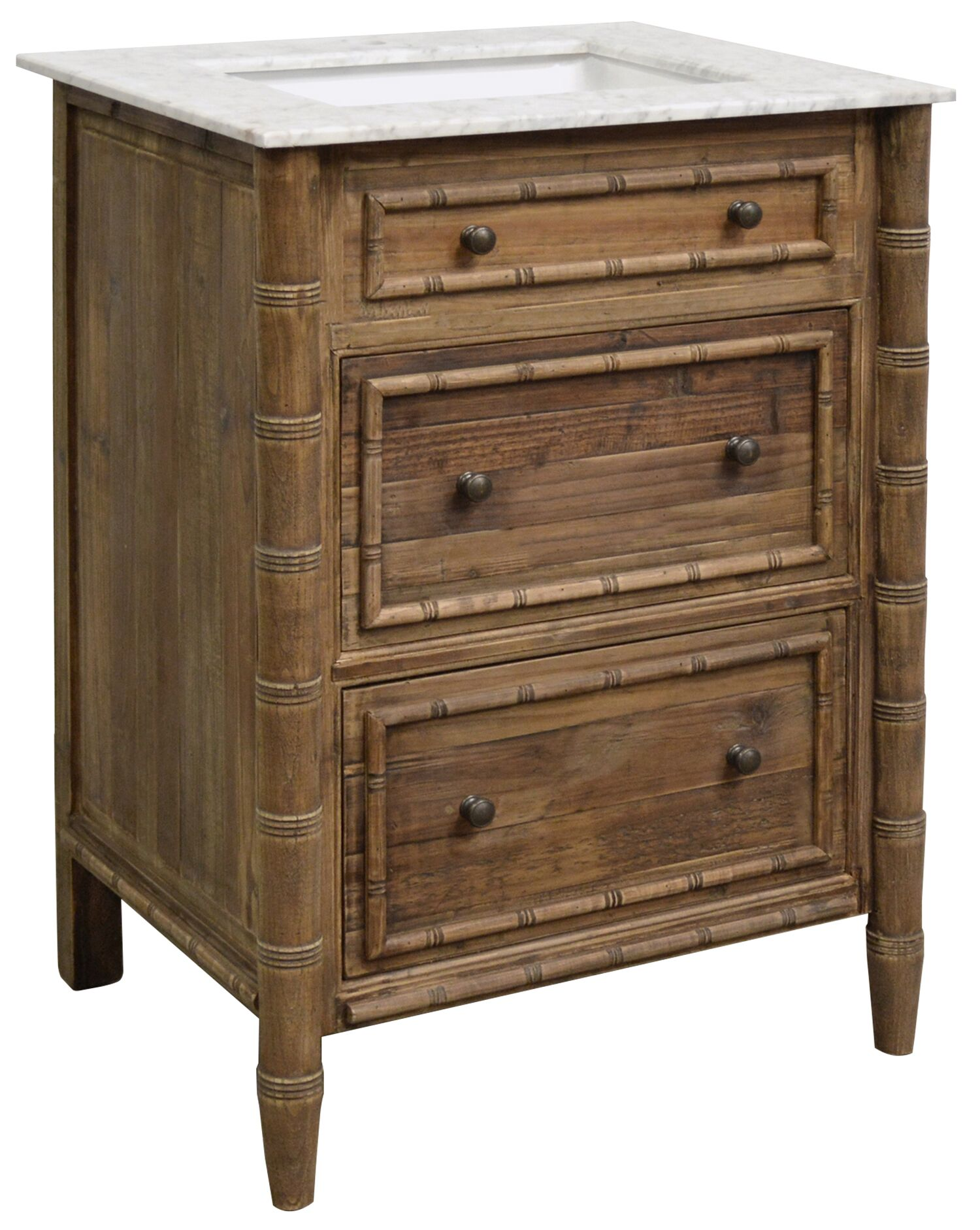 "26.5"" Handcrafted Reclaimed Pine Solid Wood Faux Bamboo Single Bath Vanity Wax Finish"