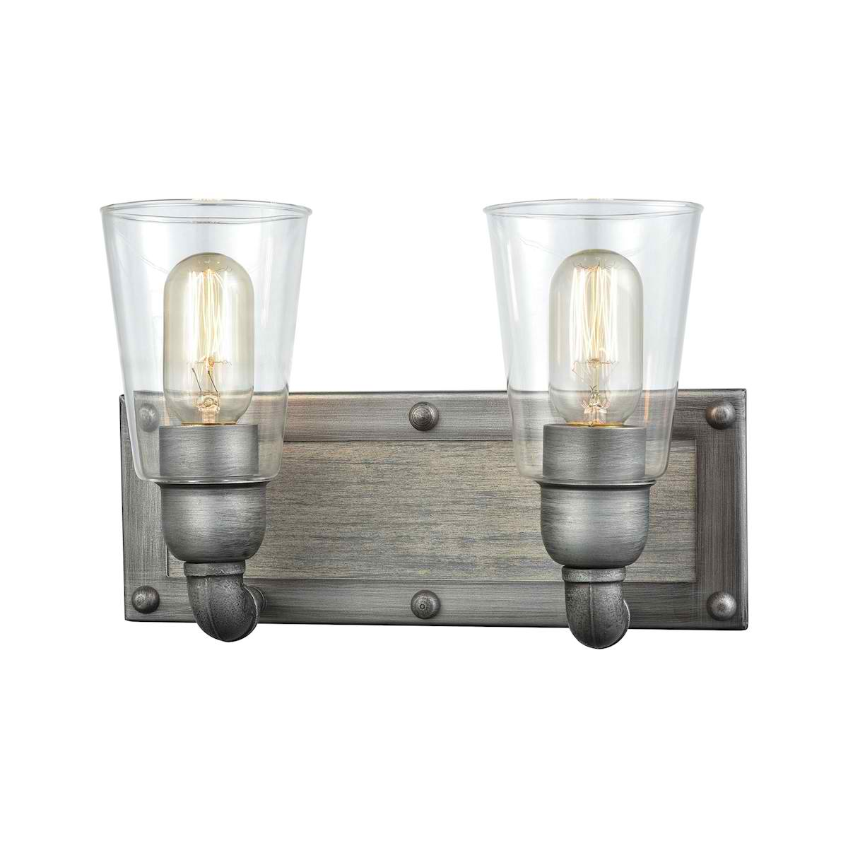 Platform 2 Light Vanity in Weathered Zinc with Washed Wood and Clear Glass