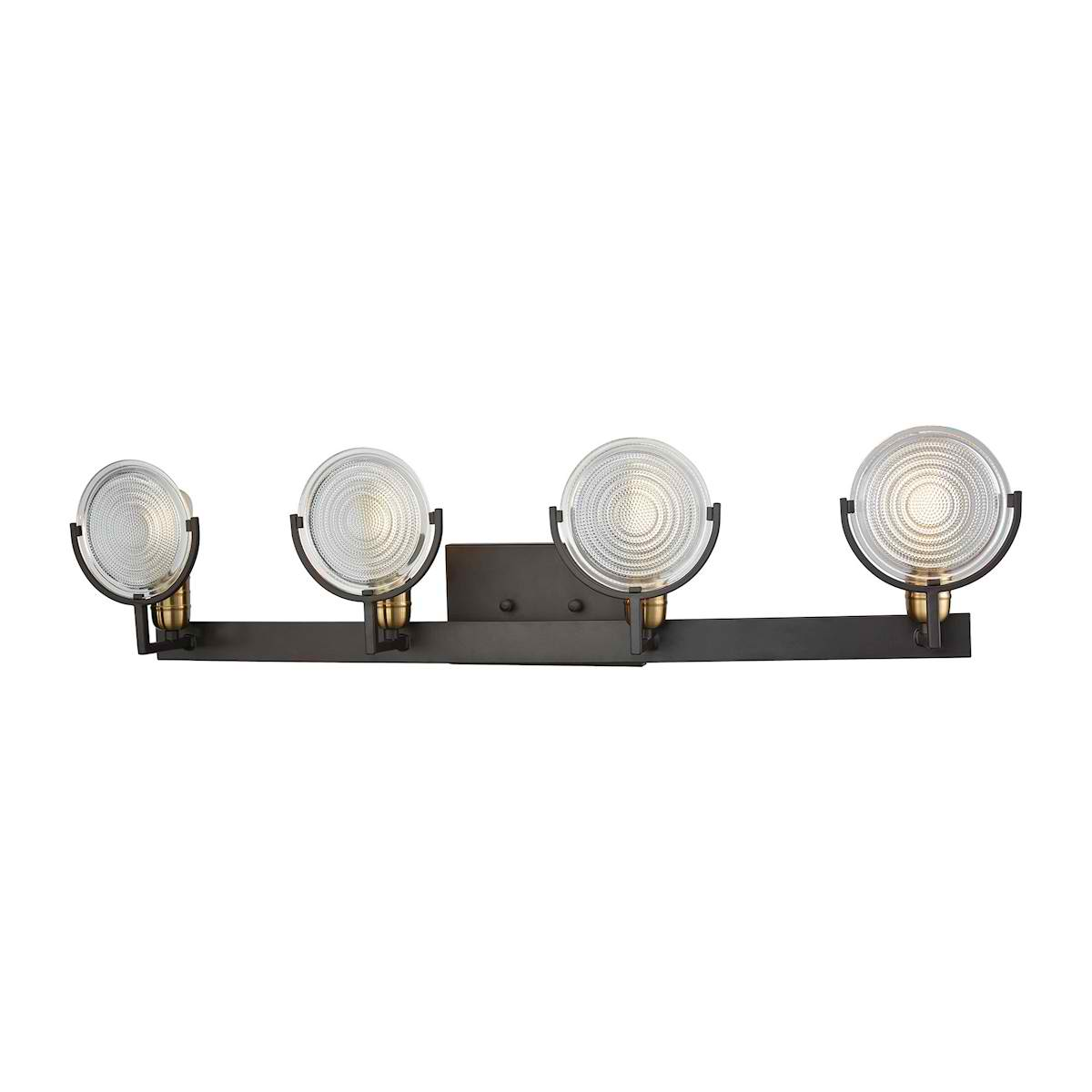 Ocular 4 Light Vanity in Oil Rubbed Bronze with Satin Brass Accents and Clear Railroad Light Glass