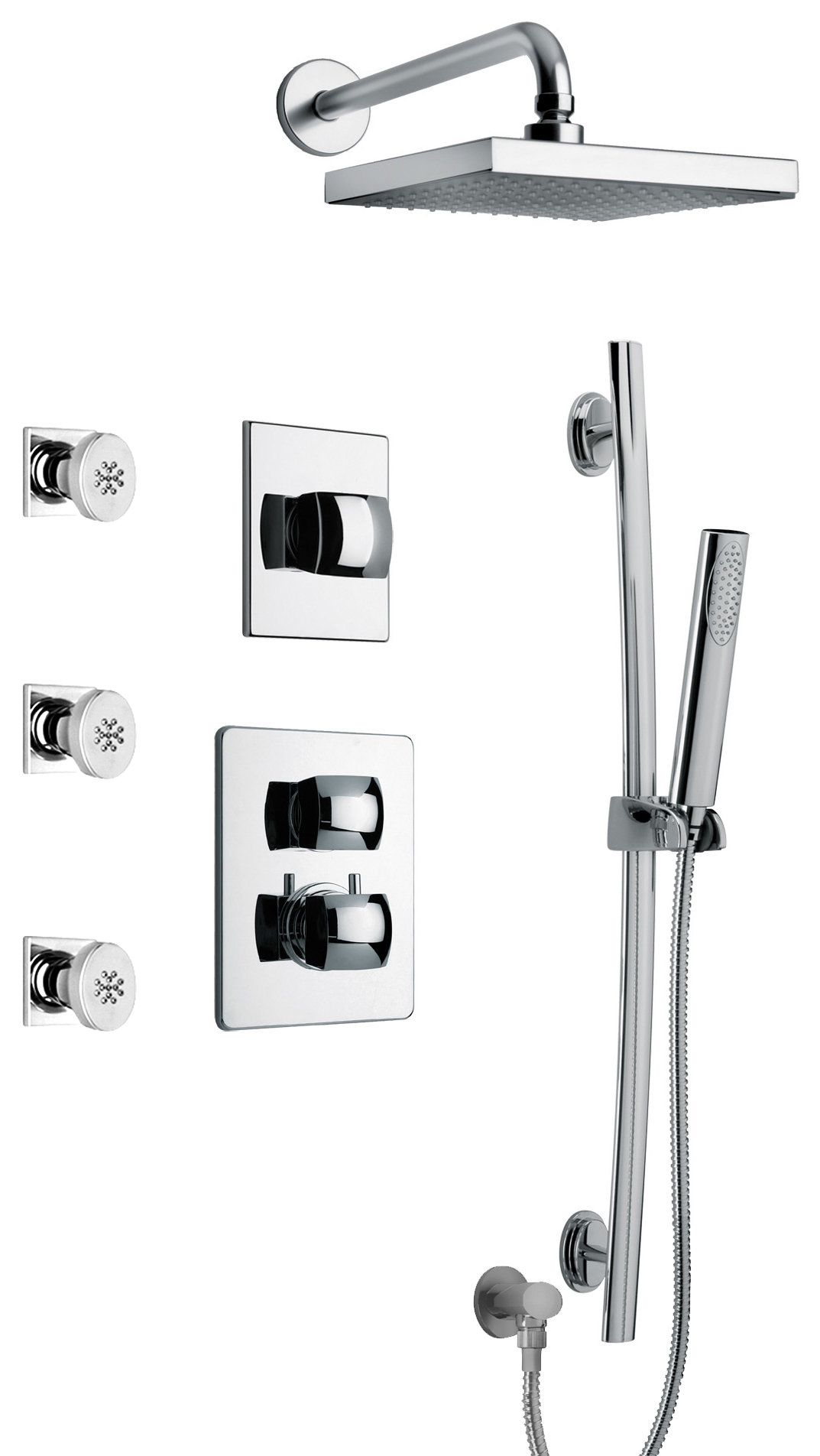 "Thermostatic Shower With 3/4"" Ceramic Disc Volume Control, 3-Way Diverter, Slide Bar, 3 Body Jets in Chrome Finish"