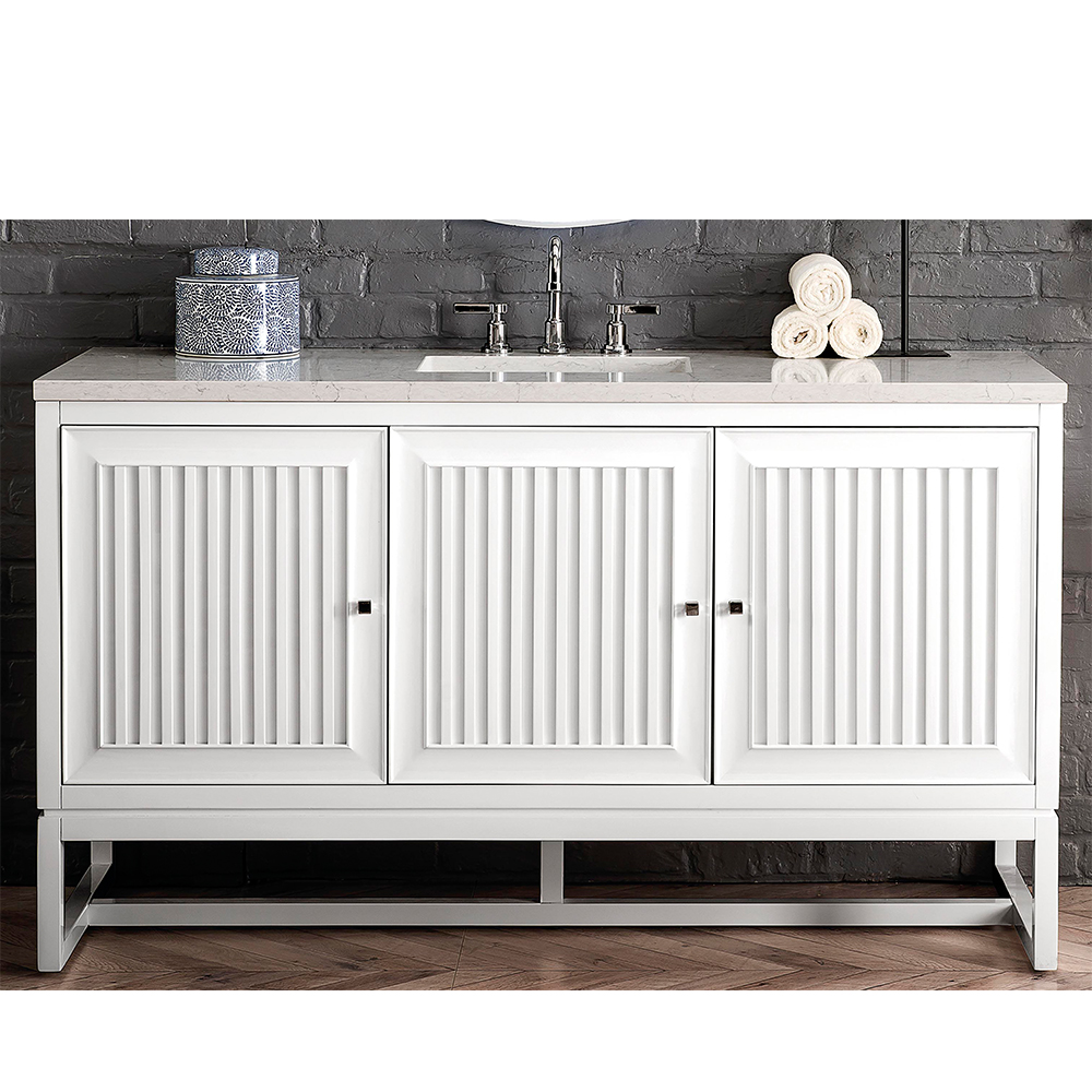 "James Martin Athens Collection 60"" Single Vanity Cabinet , Glossy White"