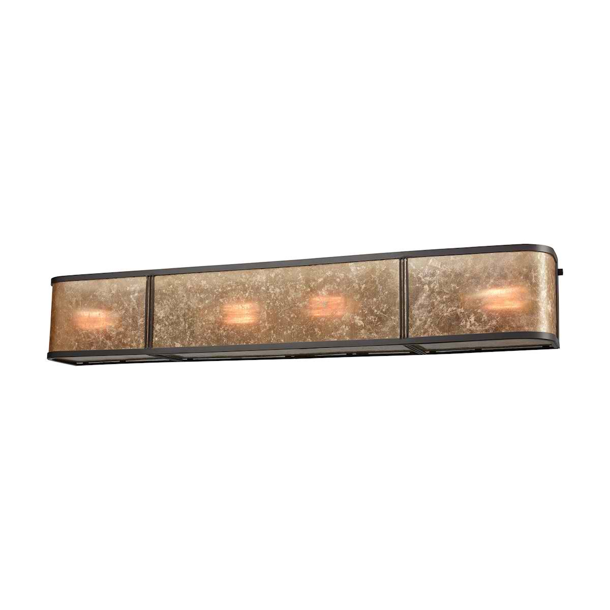 Barringer 4 Light Vanity in Oil Rubbed Bronze with Tan Mica