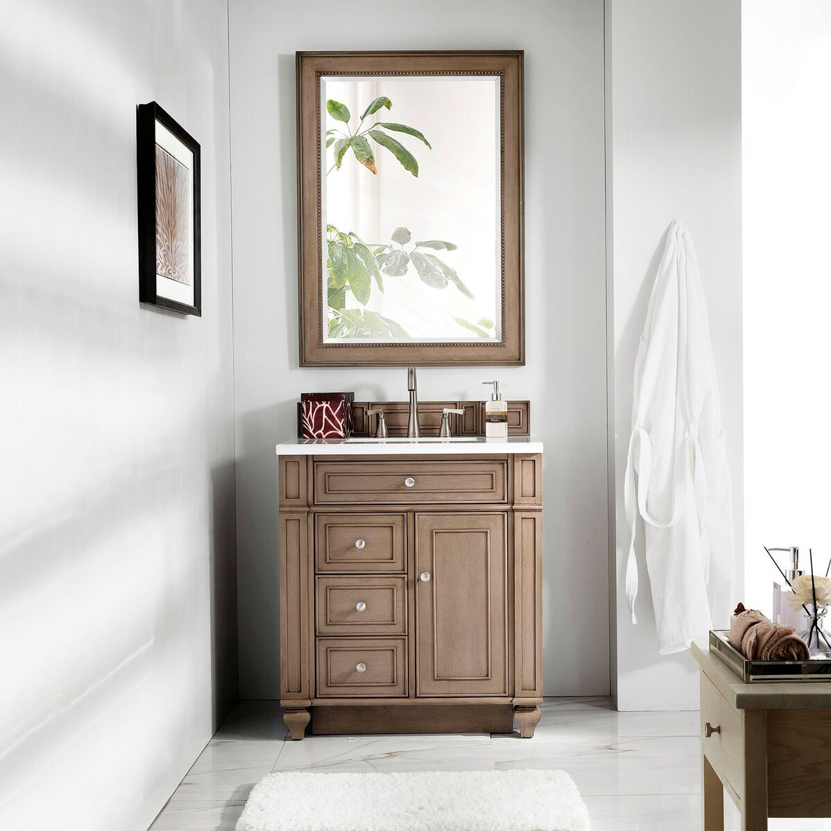"James Martin Bristol Collection 30"" Single Vanity, White Washed Walnut, Married Top - Snow White Quartz"