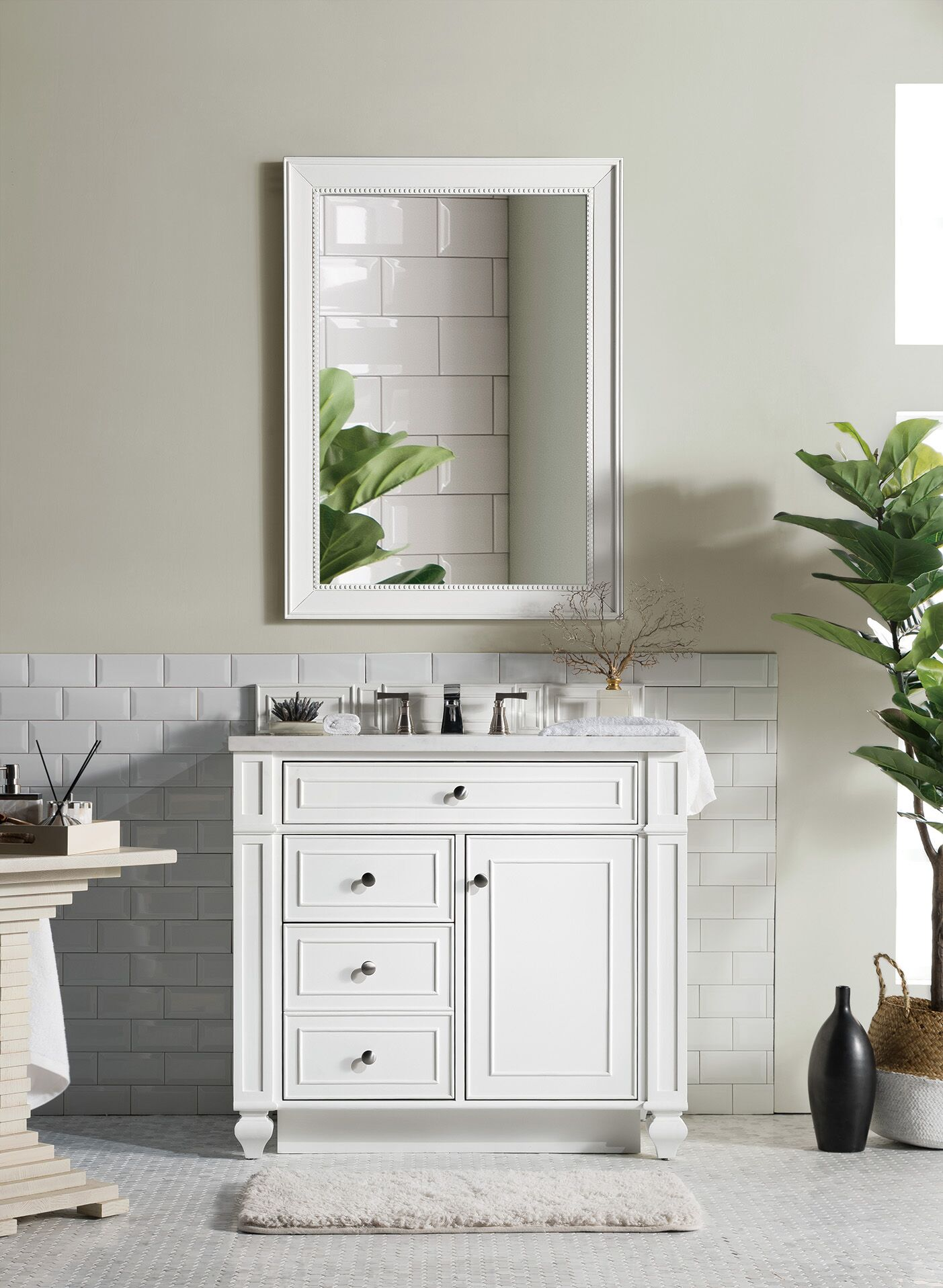 "James Martin Bristol Collection 36"" Single Vanity, Cottage White Finish"