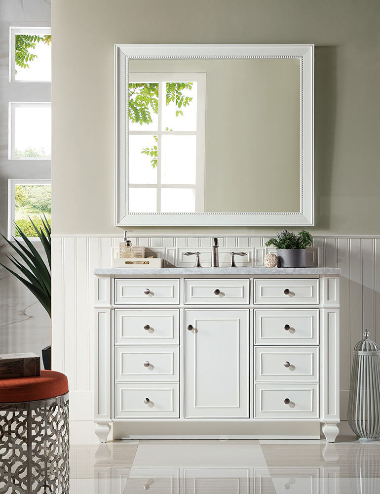 "James Martin Bristol Collection 48"" Single Traditional Vanity, Cottage White"