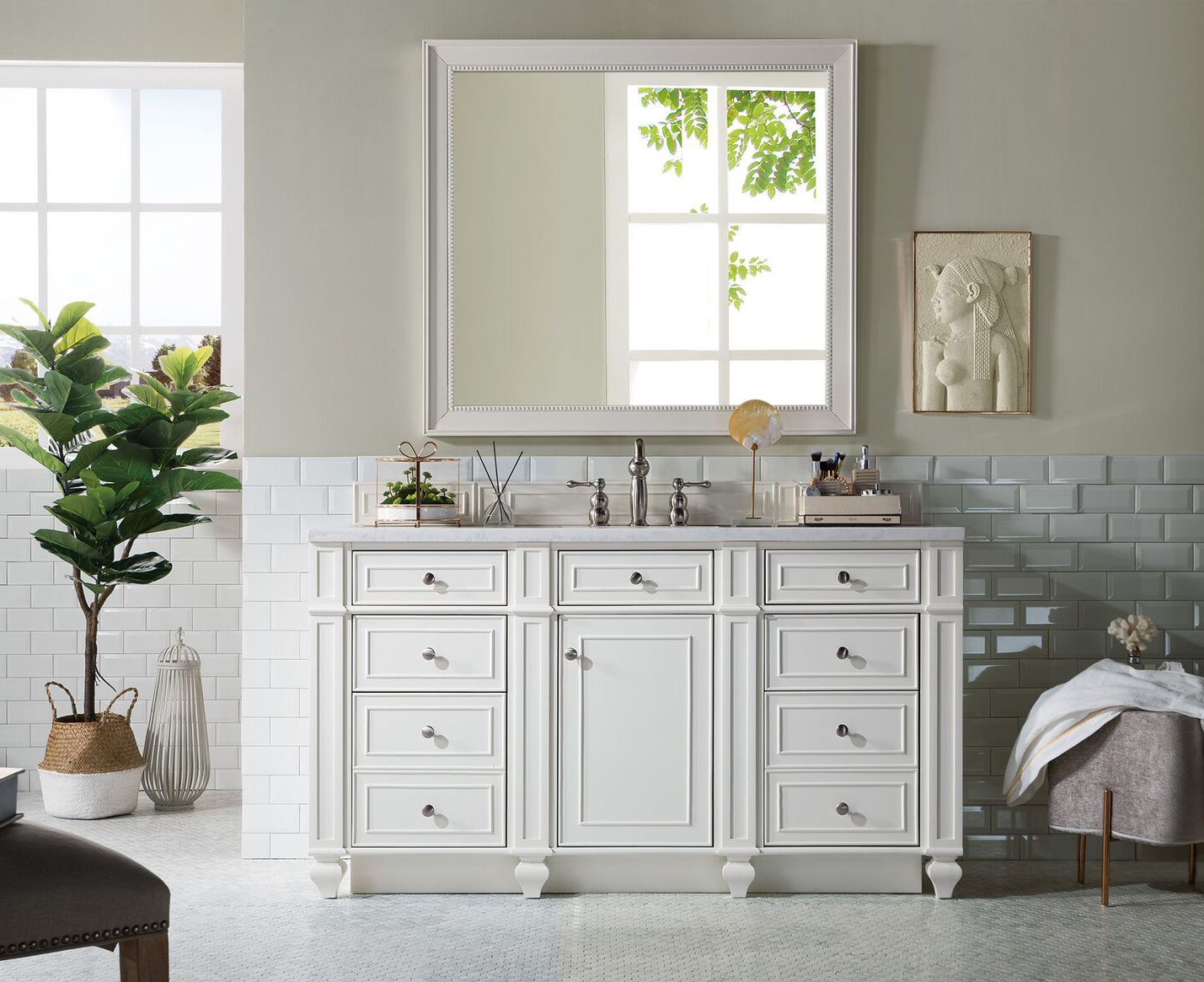 "James Martin Bristol Collection 60"" Single Vanity, Cottage White"